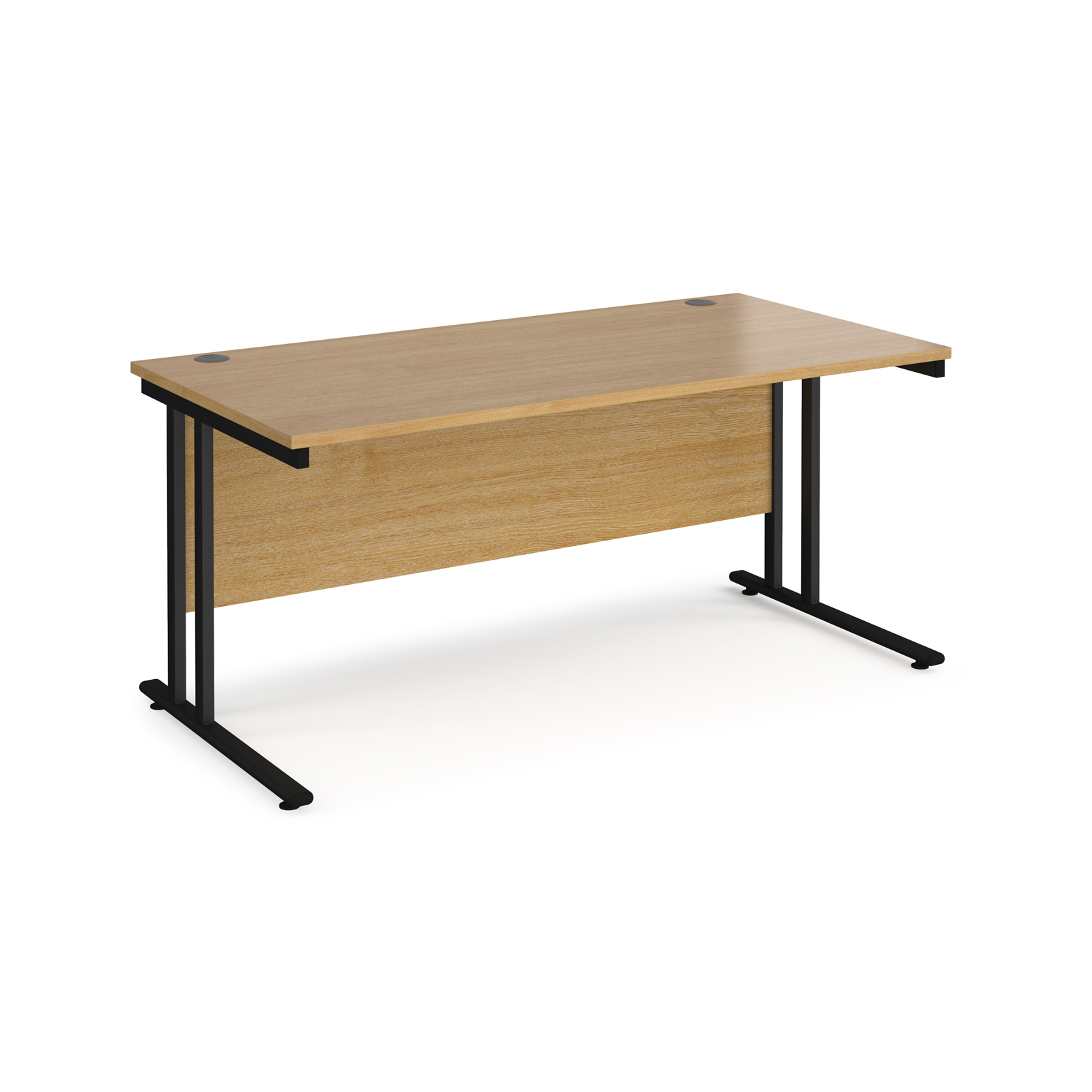 Maestro 25 straight desk 1600mm x 800mm - black cantilever leg frame, oak top