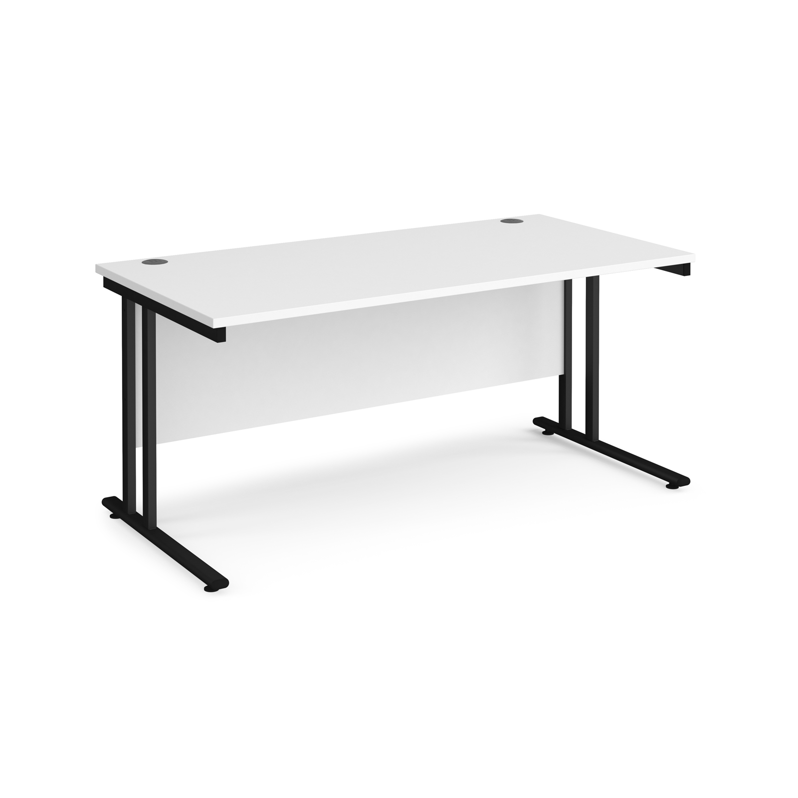 Maestro 25 straight desk 1600mm x 800mm - black cantilever leg frame, white top