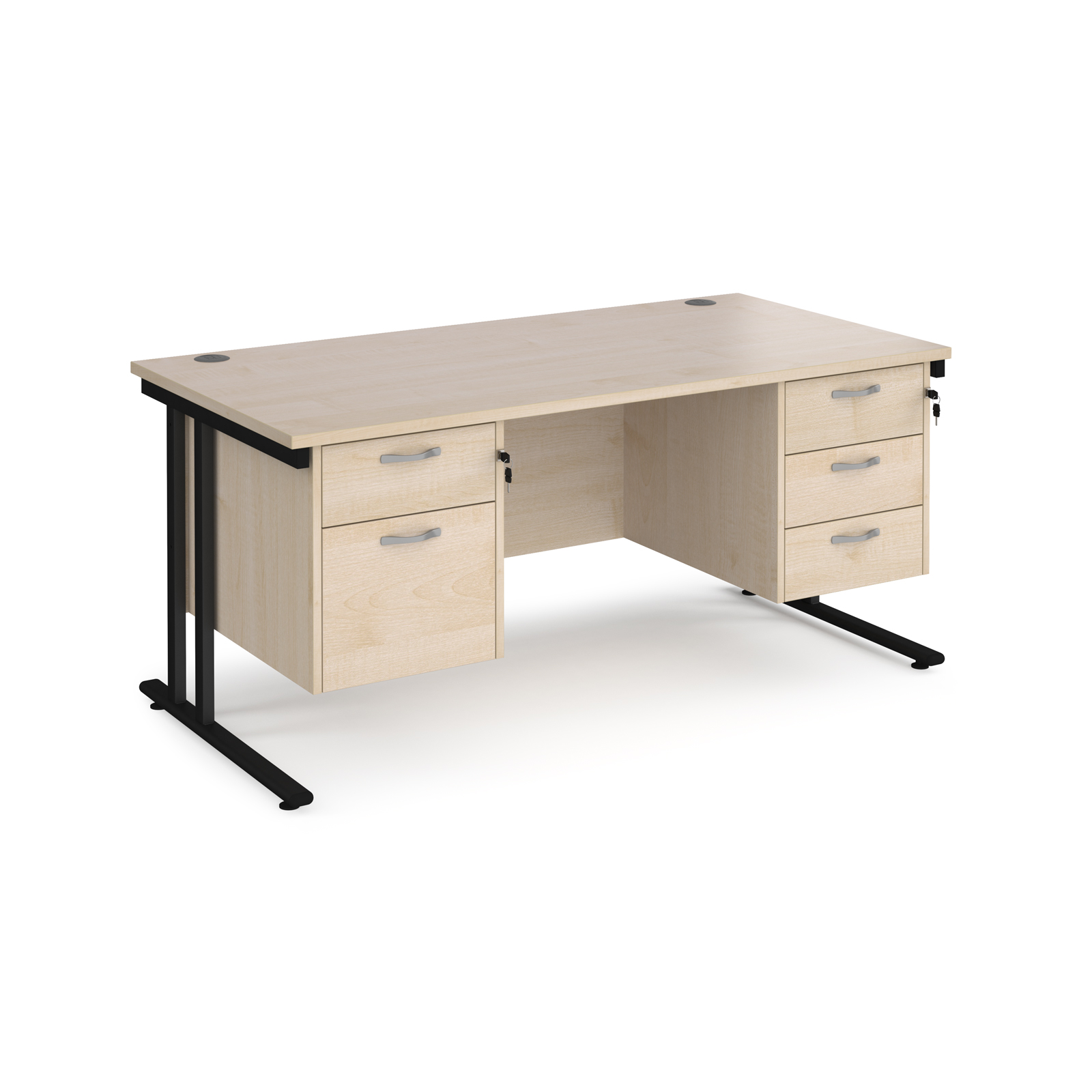 Maestro 25 straight desk 1600mm x 800mm with 2 and 3 drawer pedestals - black cantilever leg frame, maple top