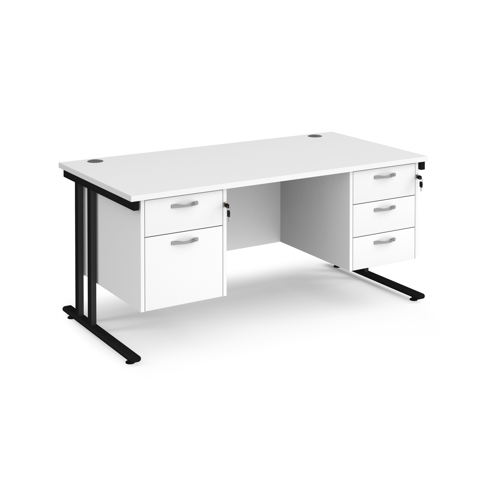 Maestro 25 straight desk 1600mm x 800mm with 2 and 3 drawer pedestals - black cantilever leg frame, white top
