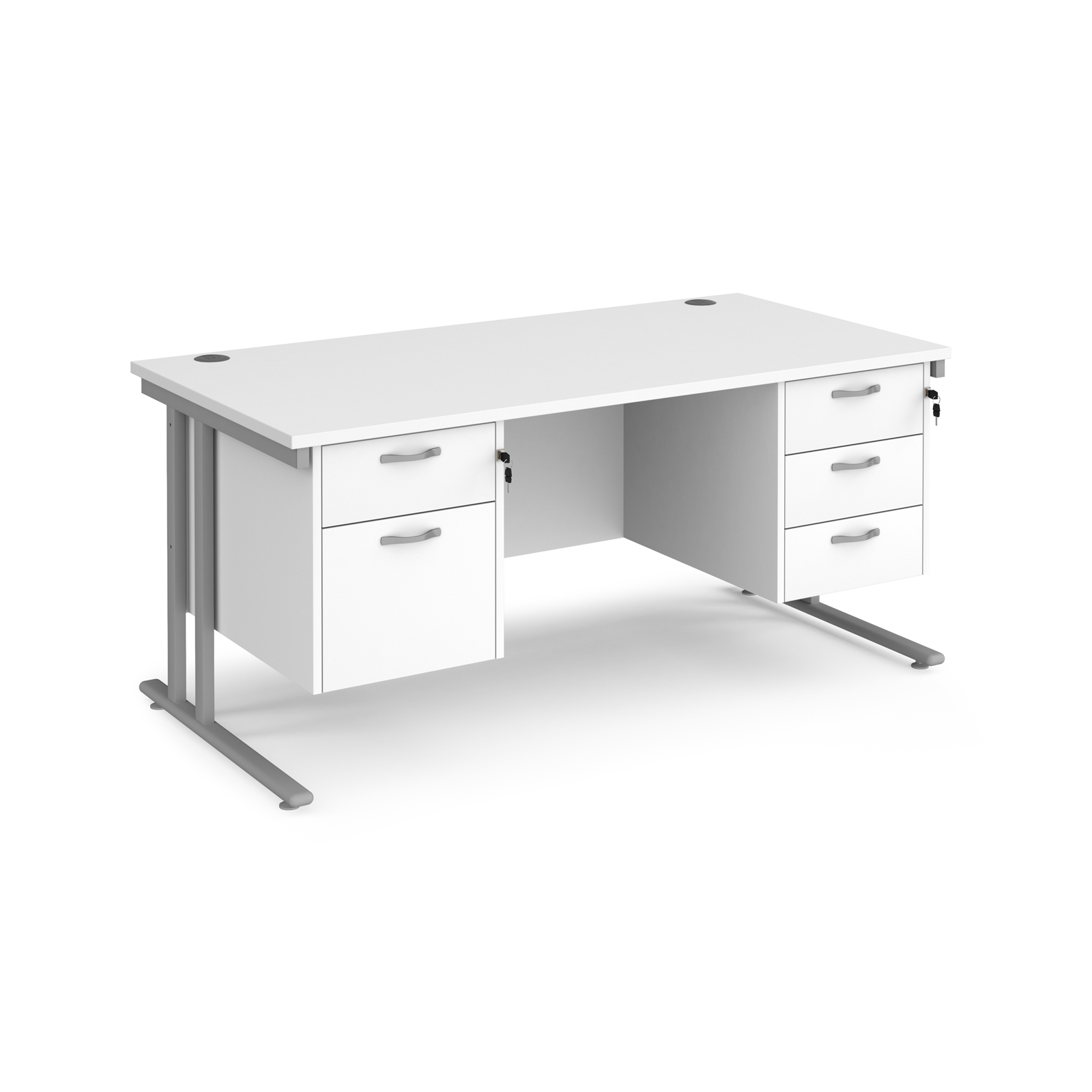 Maestro 25 straight desk 1600mm x 800mm with 2 and 3 drawer pedestals - silver cantilever leg frame, white top