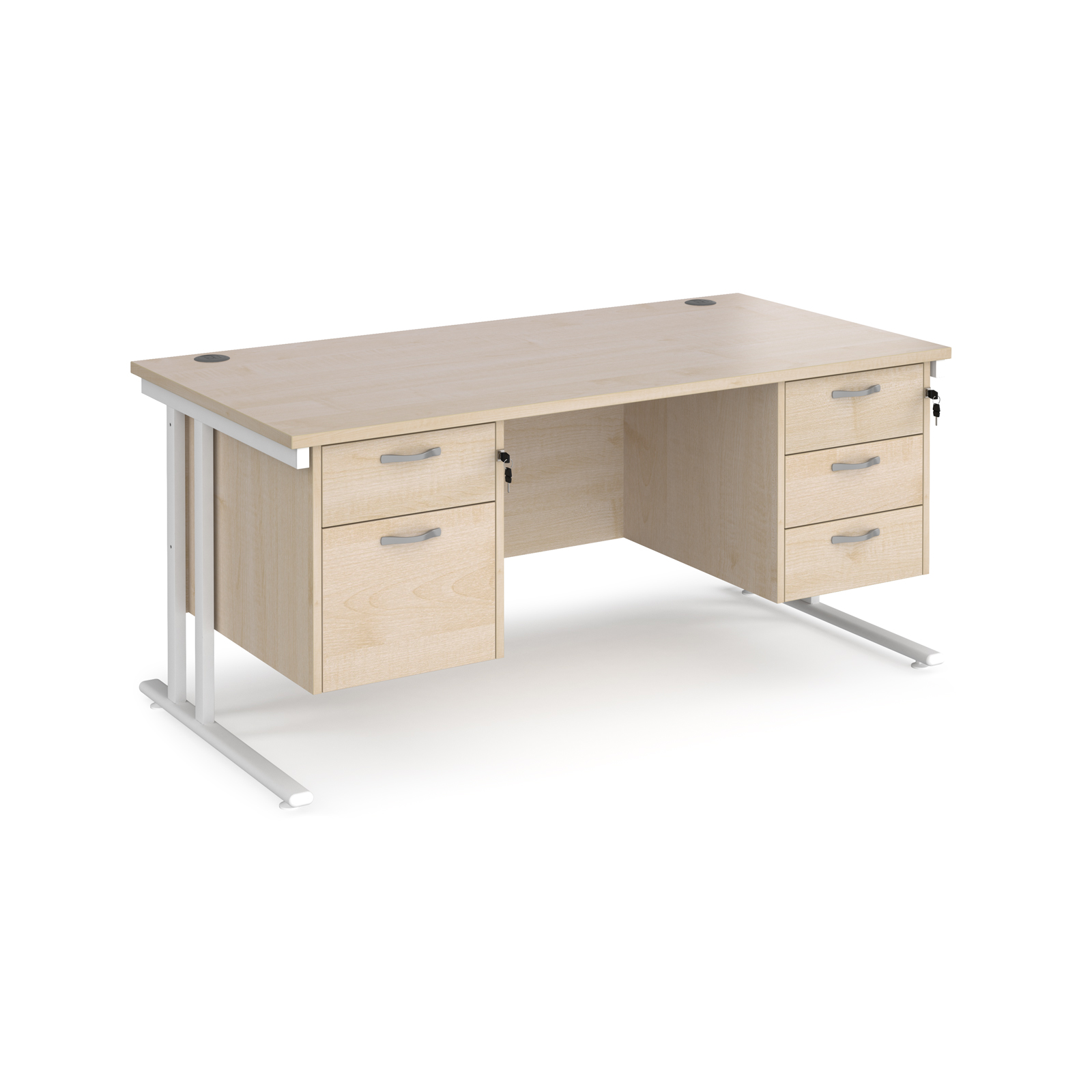 Maestro 25 straight desk 1600mm x 800mm with 2 and 3 drawer pedestals - white cantilever leg frame, maple top
