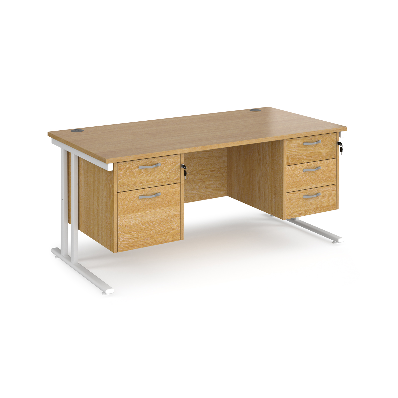 Maestro 25 straight desk 1600mm x 800mm with 2 and 3 drawer pedestals - white cantilever leg frame, oak top