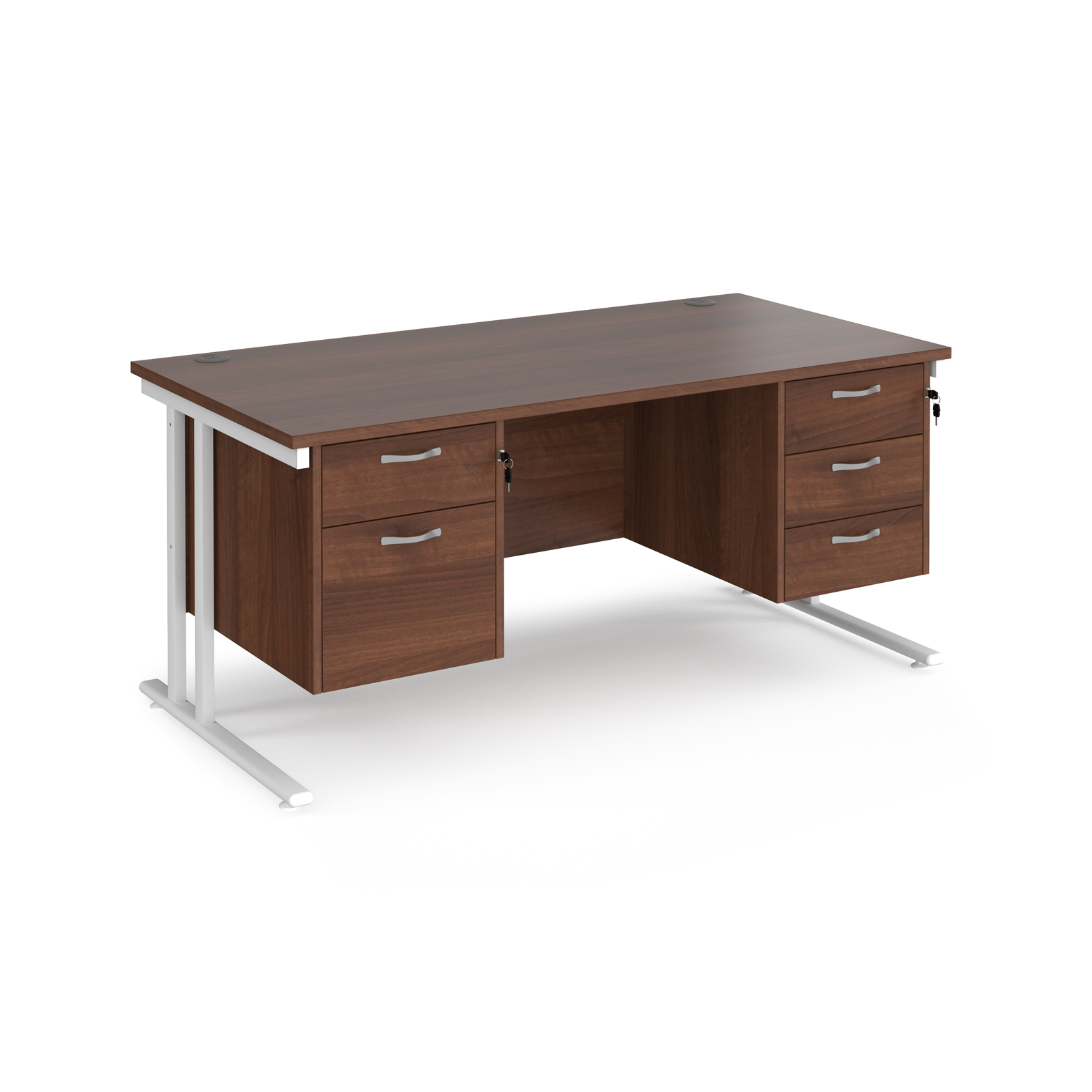 Maestro 25 straight desk 1600mm x 800mm with 2 and 3 drawer pedestals - white cantilever leg frame, walnut top