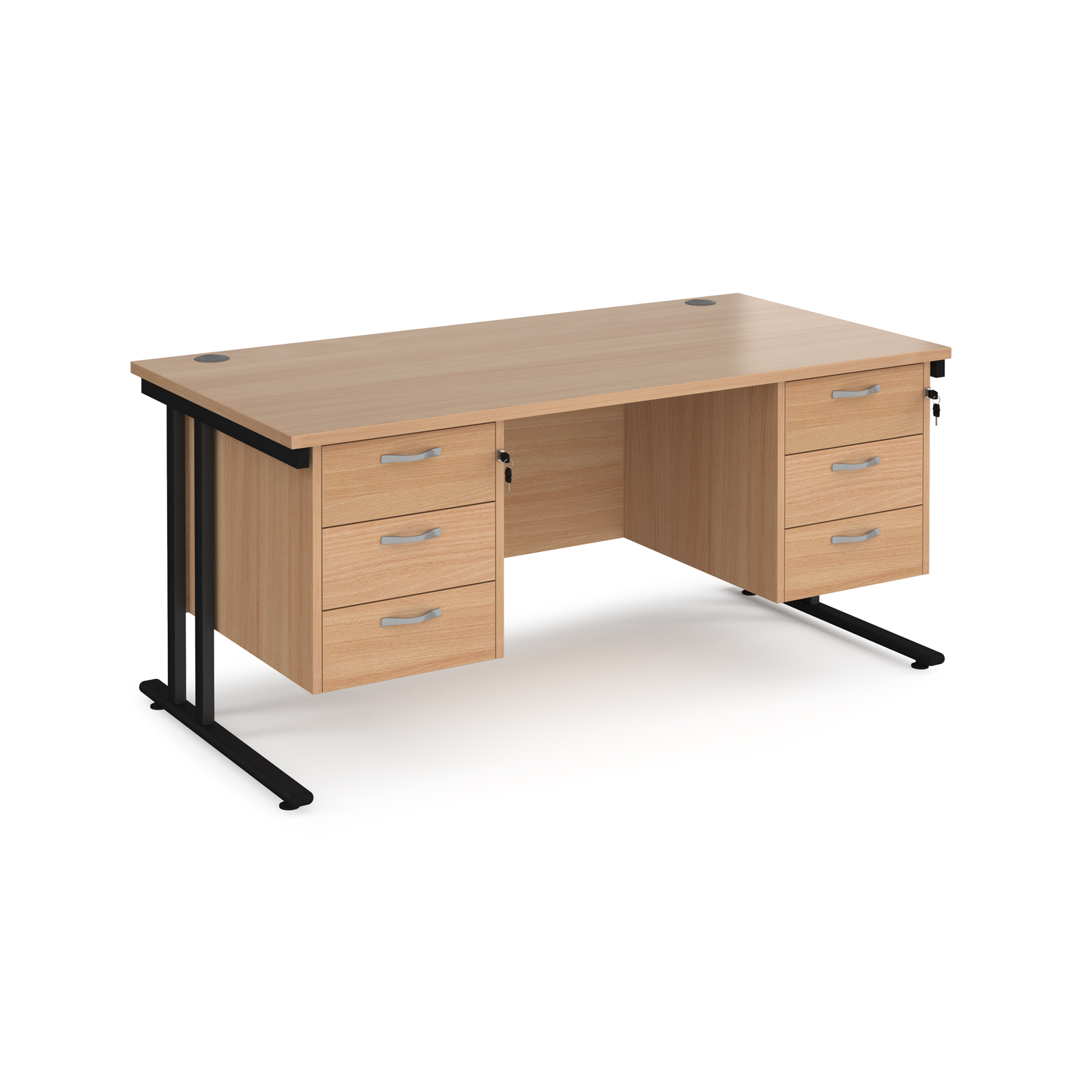 Maestro 25 straight desk 1600mm x 800mm with two x 3 drawer pedestals - black cantilever leg frame, beech top