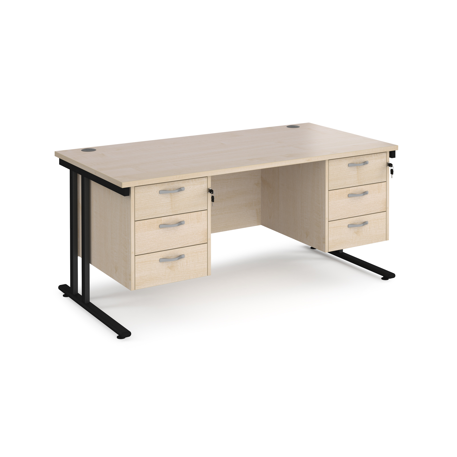 Maestro 25 straight desk 1600mm x 800mm with two x 3 drawer pedestals - black cantilever leg frame, maple top