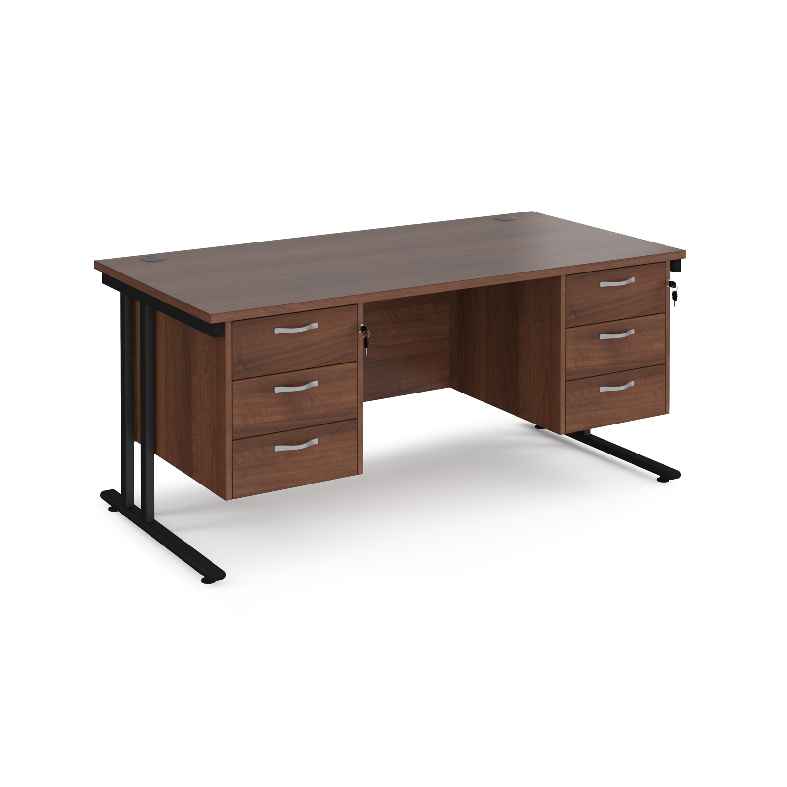 Maestro 25 straight desk 1600mm x 800mm with two x 3 drawer pedestals - black cantilever leg frame, walnut top
