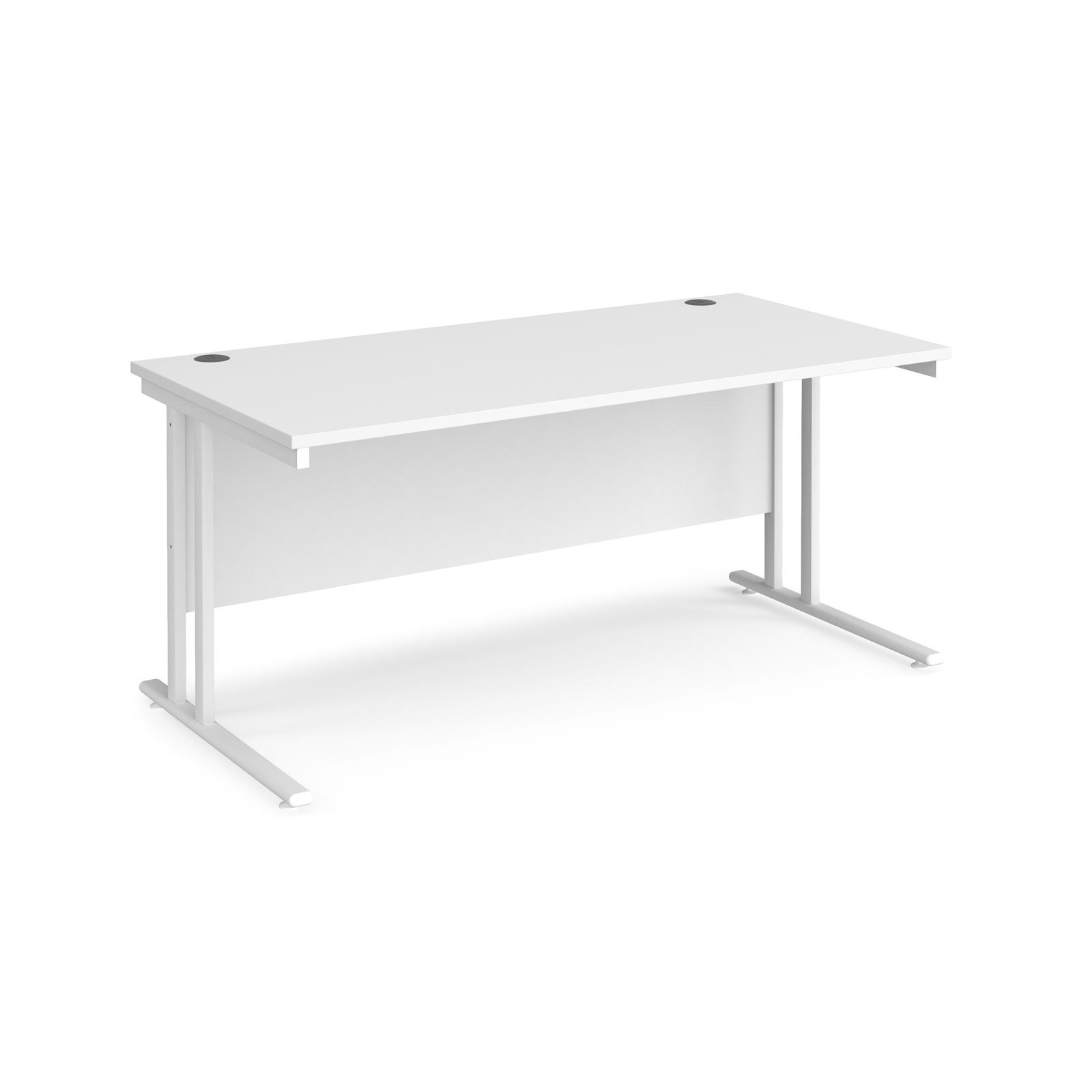 Maestro 25 WL straight desk 1600mm x 800mm - white cantilever frame, white top