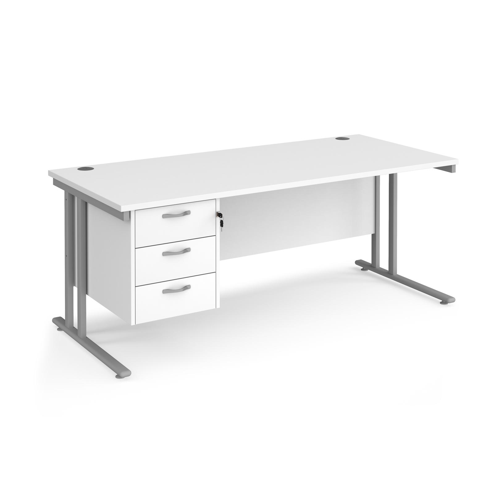 Rectangular Desks Maestro 25 straight desk 1800mm x 800mm with 3 drawer pedestal - silver cantilever leg frame, white top