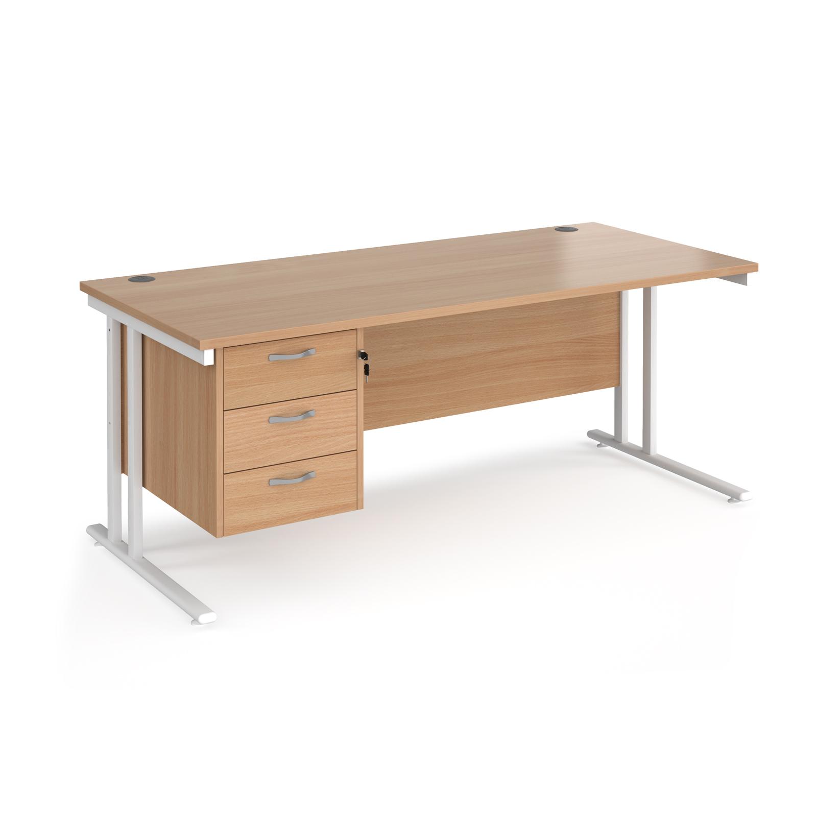 Rectangular Desks Maestro 25 straight desk 1800mm x 800mm with 3 drawer pedestal - white cantilever leg frame, beech top