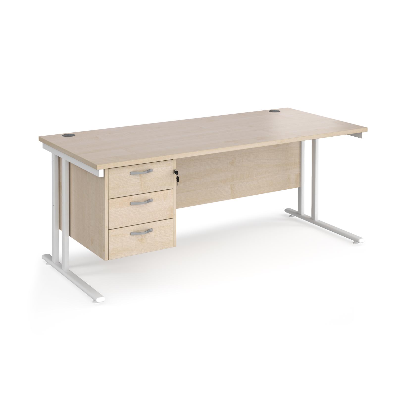 Rectangular Desks Maestro 25 straight desk 1800mm x 800mm with 3 drawer pedestal - white cantilever leg frame, maple top