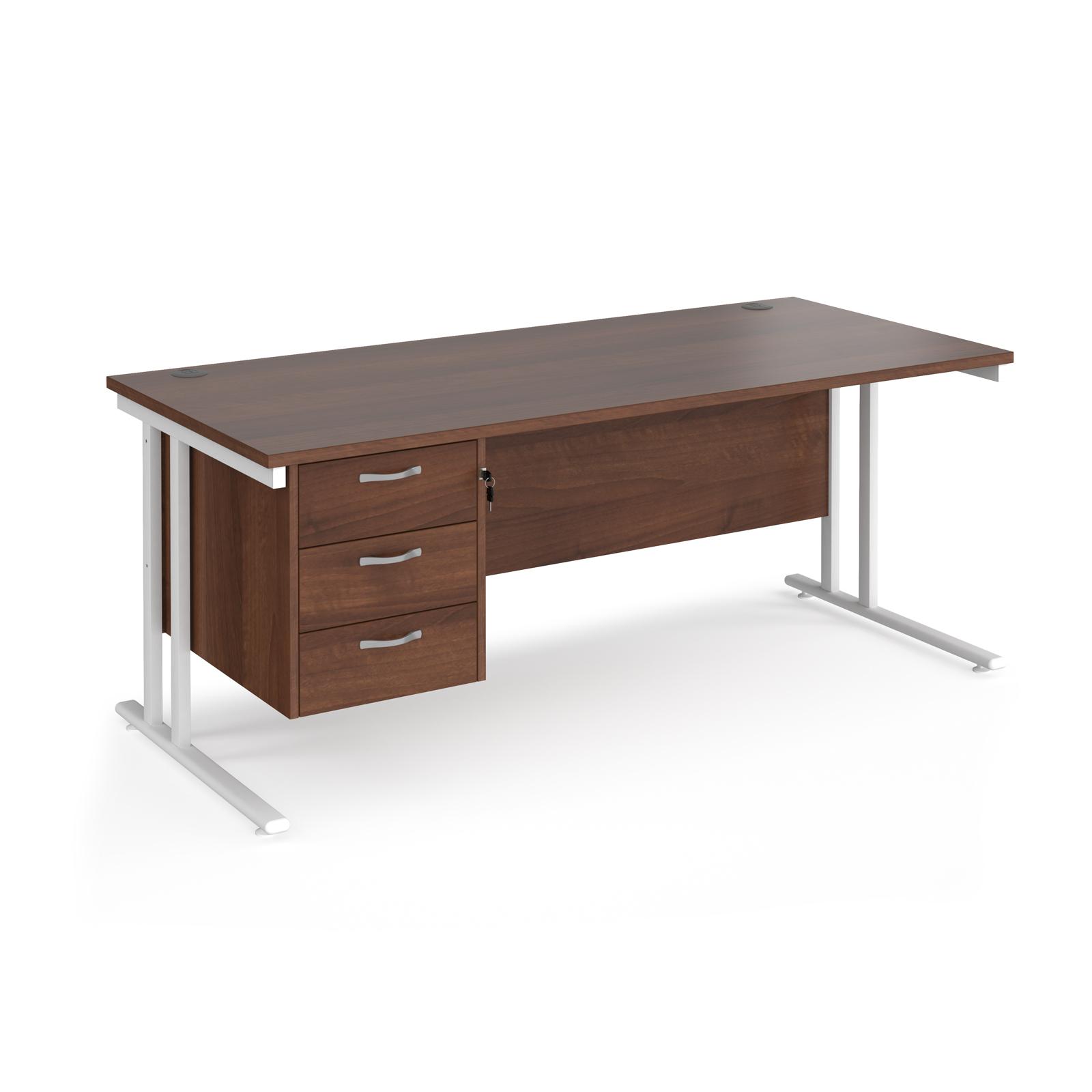 Rectangular Desks Maestro 25 straight desk 1800mm x 800mm with 3 drawer pedestal - white cantilever leg frame, walnut top