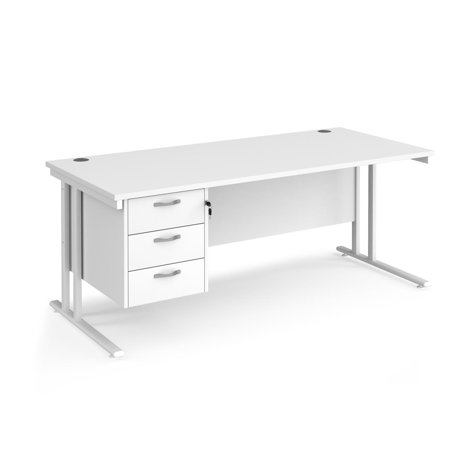 Rectangular Desks Maestro 25 straight desk 1800mm x 800mm with 3 drawer pedestal - white cantilever leg frame, white top