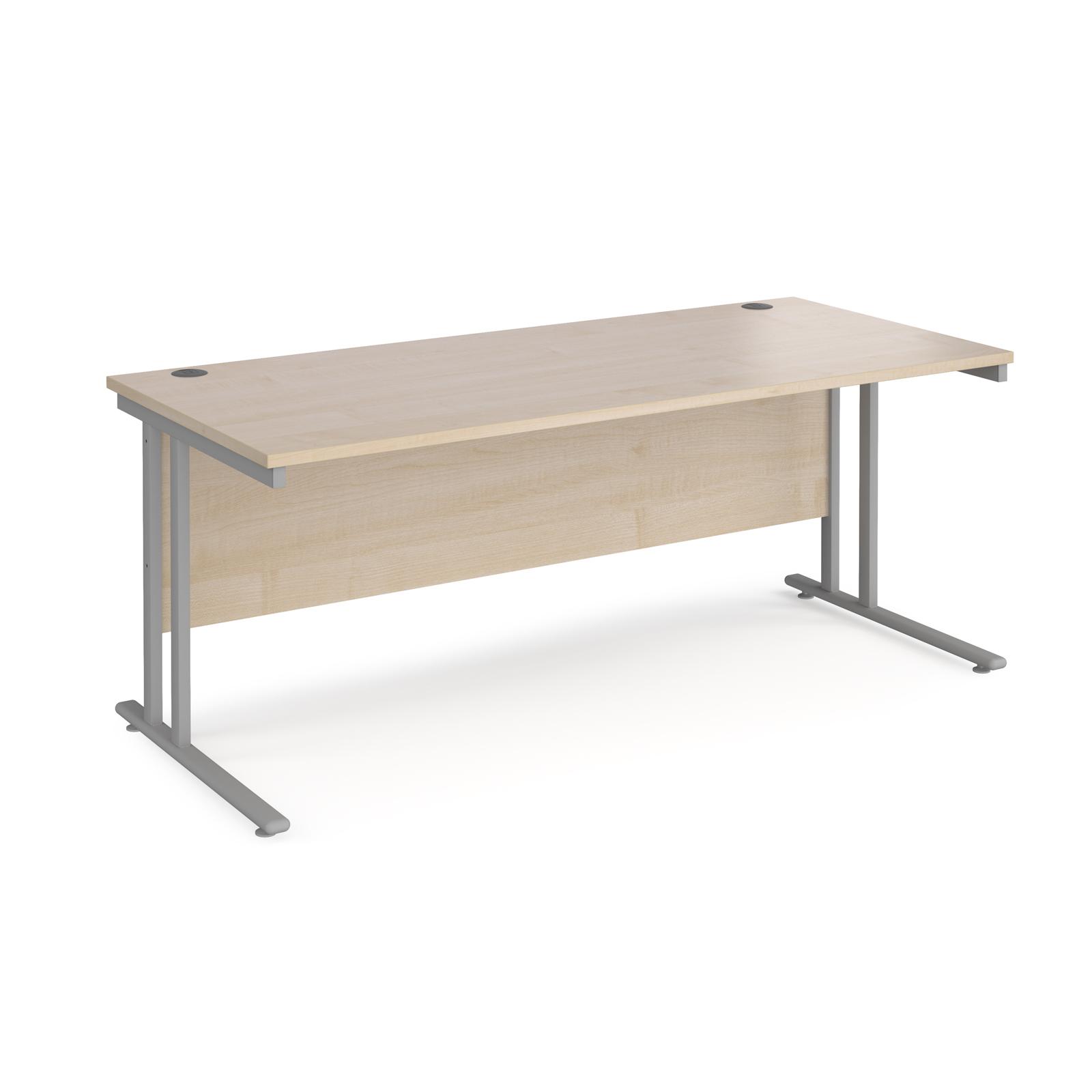 Rectangular Desks Maestro 25 straight desk 1800mm x 800mm - silver cantilever leg frame, maple top