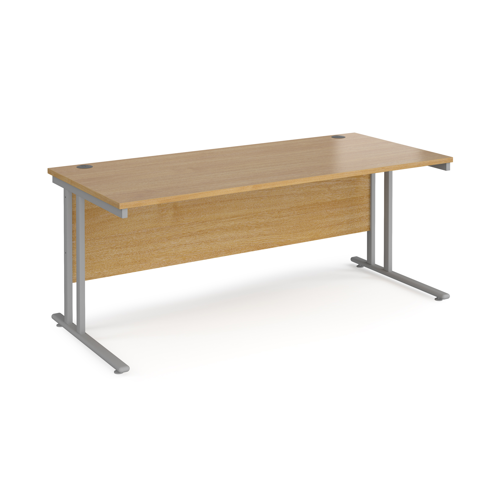 Rectangular Desks Maestro 25 straight desk 1800mm x 800mm - silver cantilever leg frame, oak top