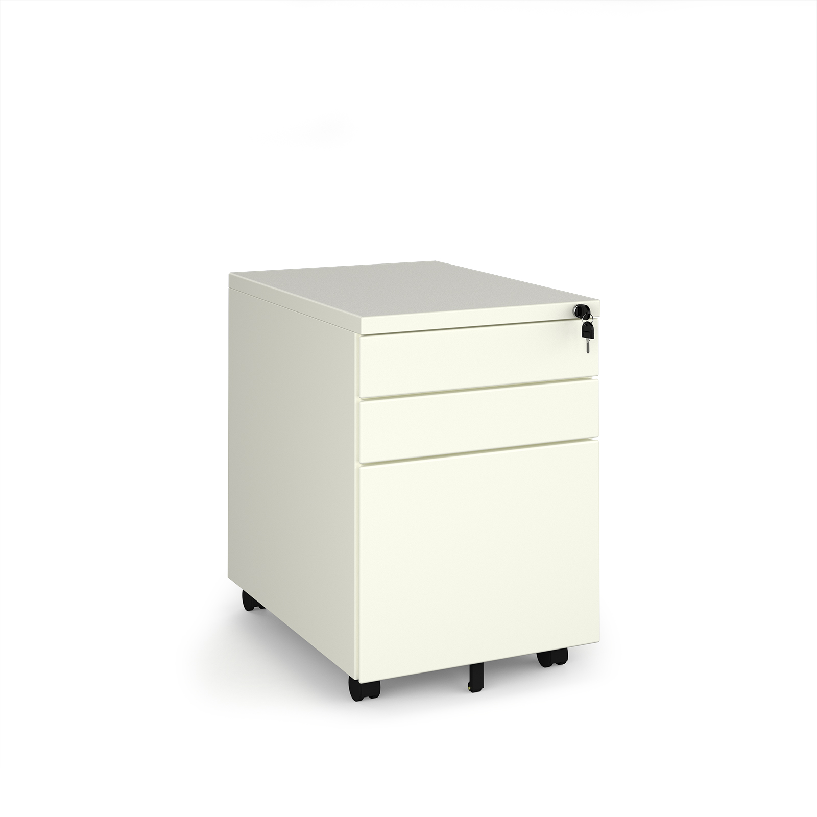Steel 3 drawer wide mobile pedestal - white