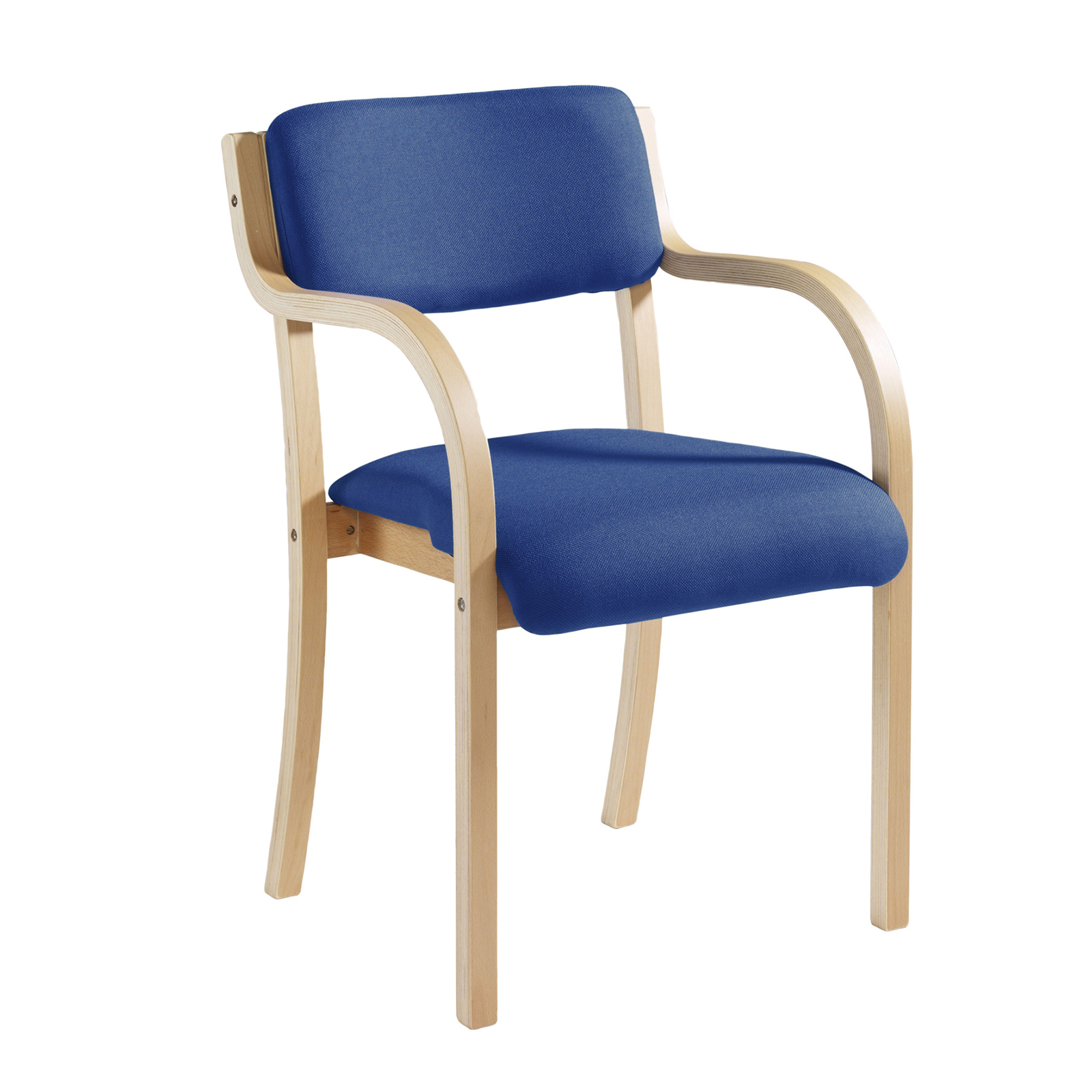 Prague wooden conference chair with double arms - blue