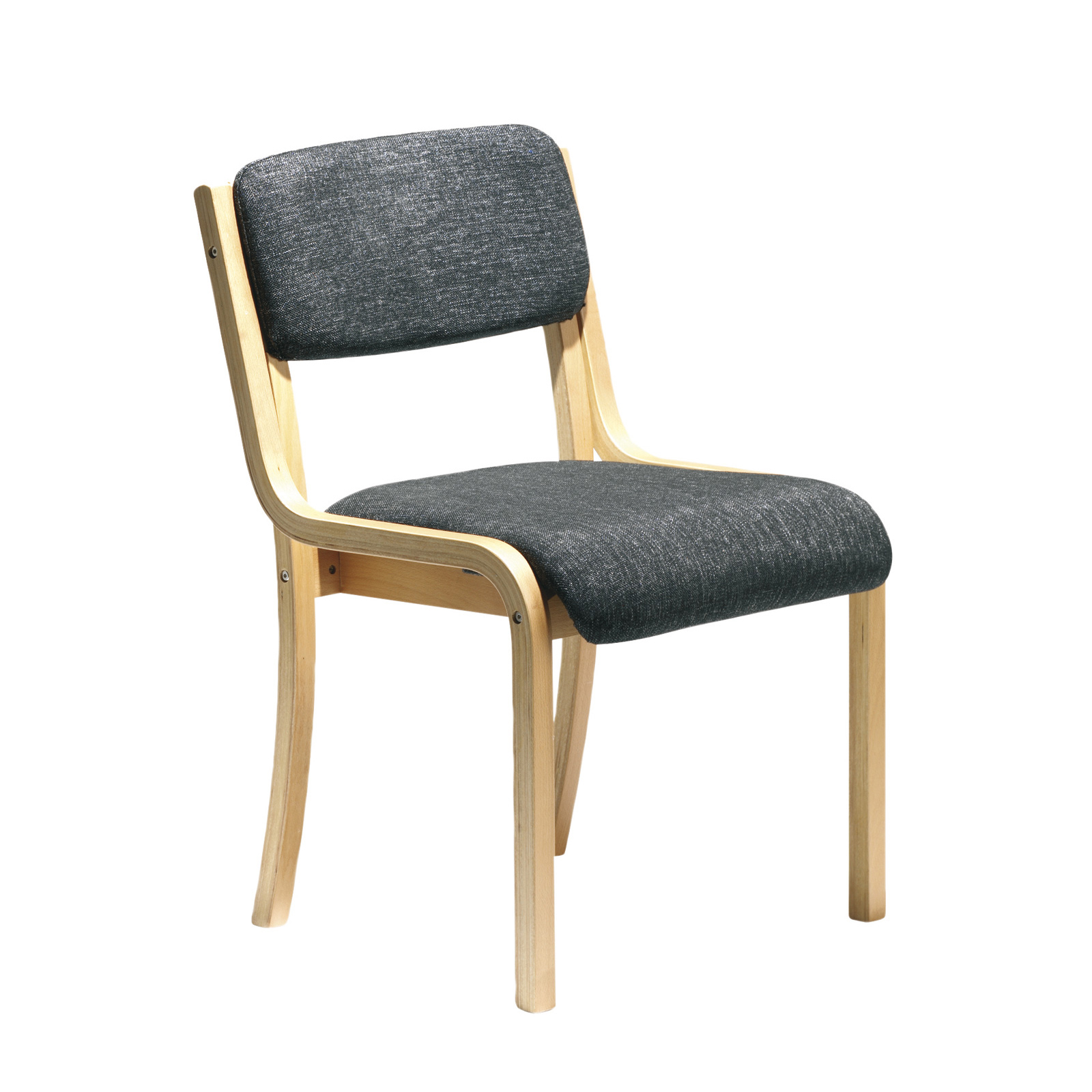 Prague wooden conference chair with no arms - charcoal