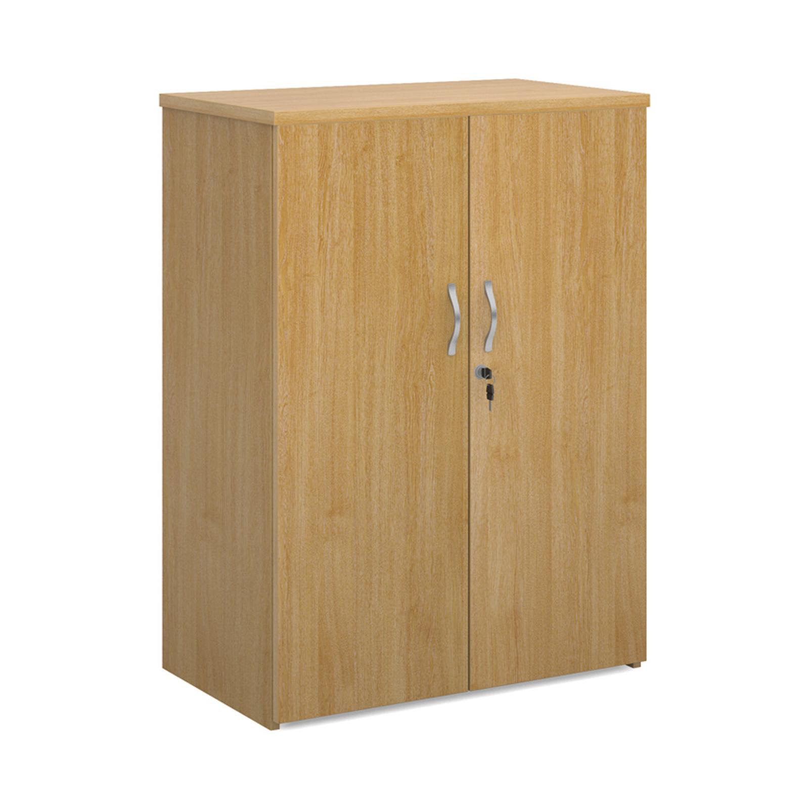 Up to 1200mm High Universal double door cupboard 1090mm high with 2 shelves - oak