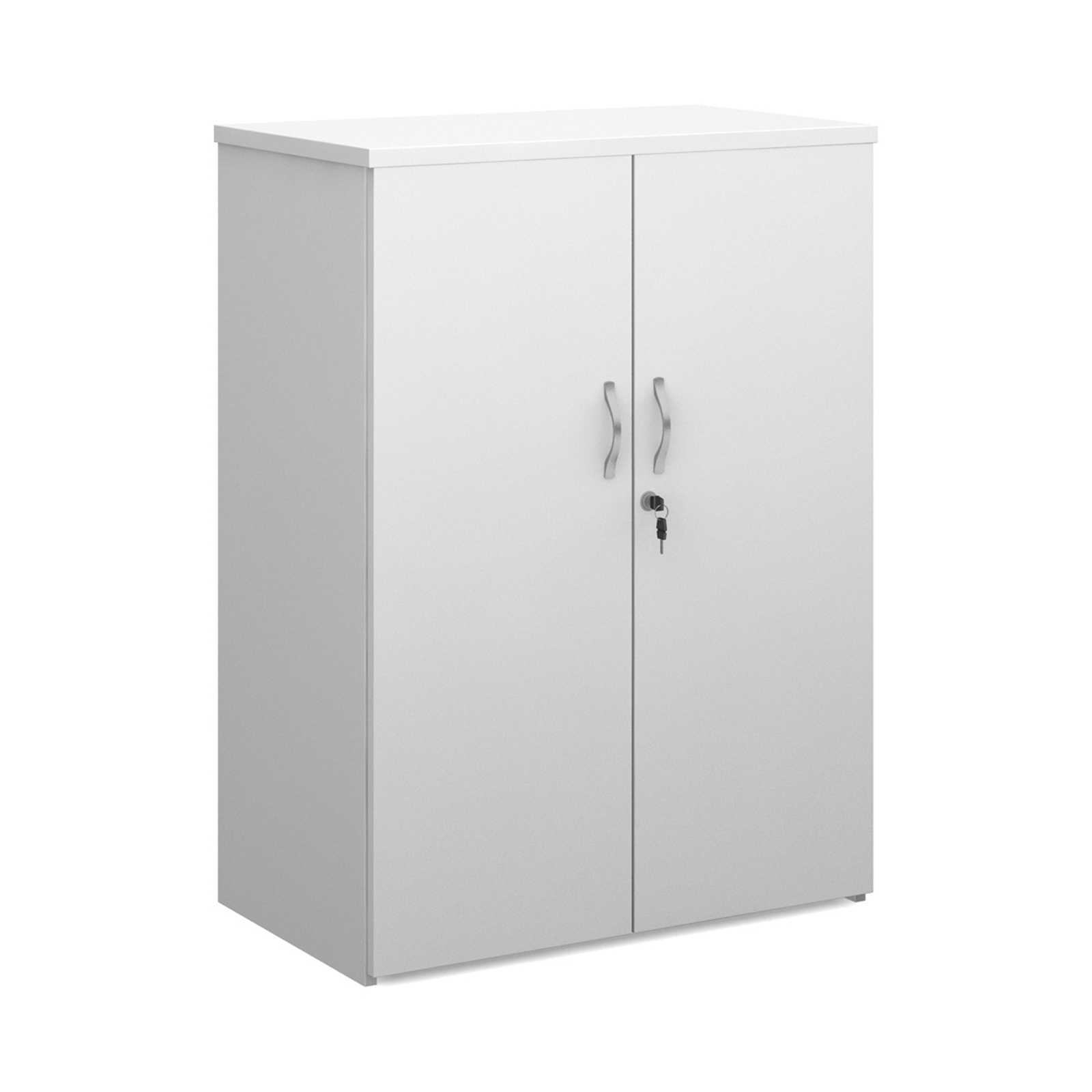 Up to 1200mm High Universal double door cupboard 1090mm high with 2 shelves - white