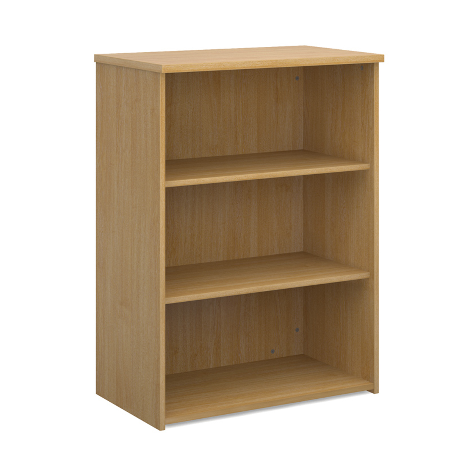 Up To 1200mm High Universal bookcase 1090mm high with 2 shelves - oak