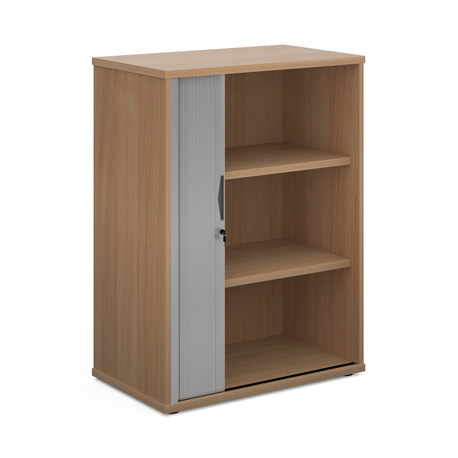 Up to 1200mm High Universal single door tambour cupboard 1090mm high with 2 shelves - beech with silver door