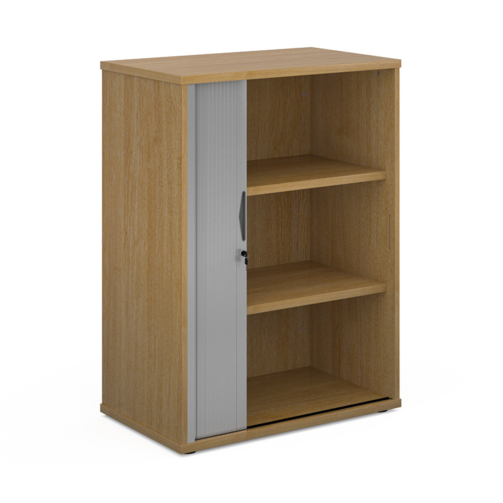 Universal single door tambour cupboard 1090mm high with 2 shelves - oak with silver door