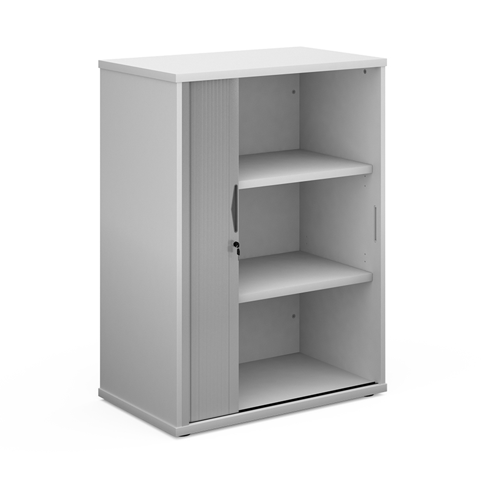 Up to 1200mm High Universal single door tambour cupboard 1090mm high with 2 shelves - white with silver door