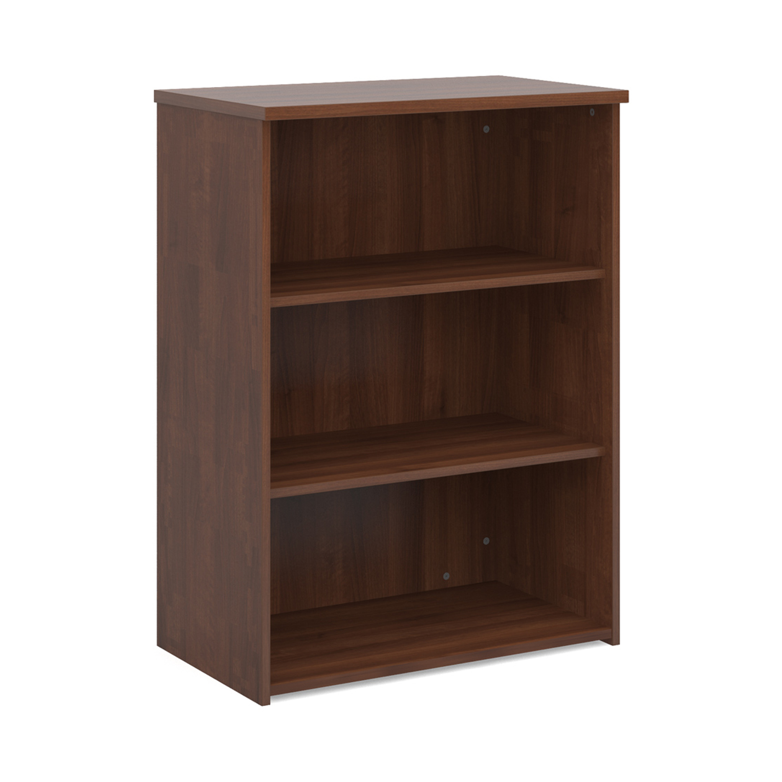 Up To 1200mm High Universal bookcase 1090mm high with 2 shelves - walnut