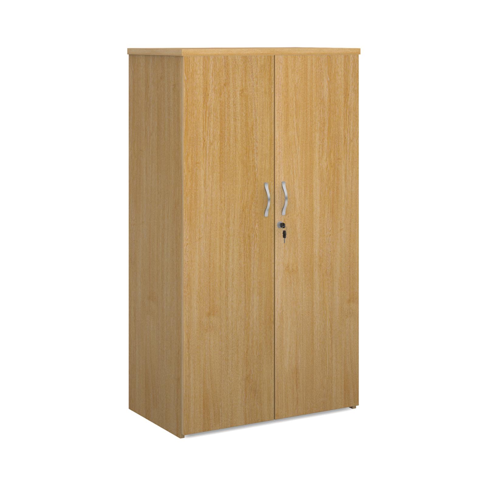 Over 1200mm High Universal double door cupboard 1440mm high with 3 shelves - oak