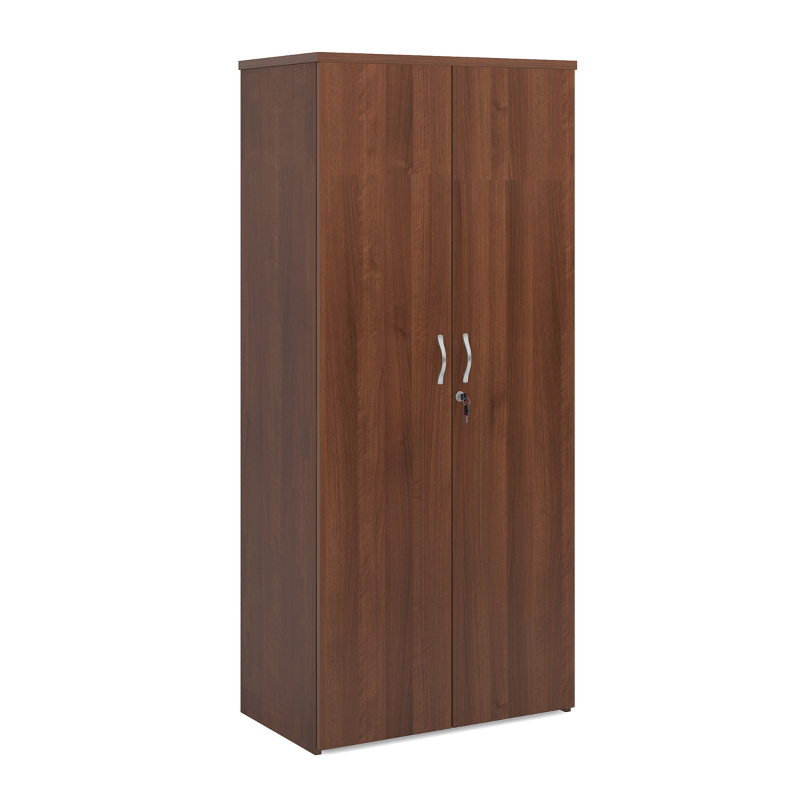 Universal double door cupboard 1790mm high with 4 shelves - walnut