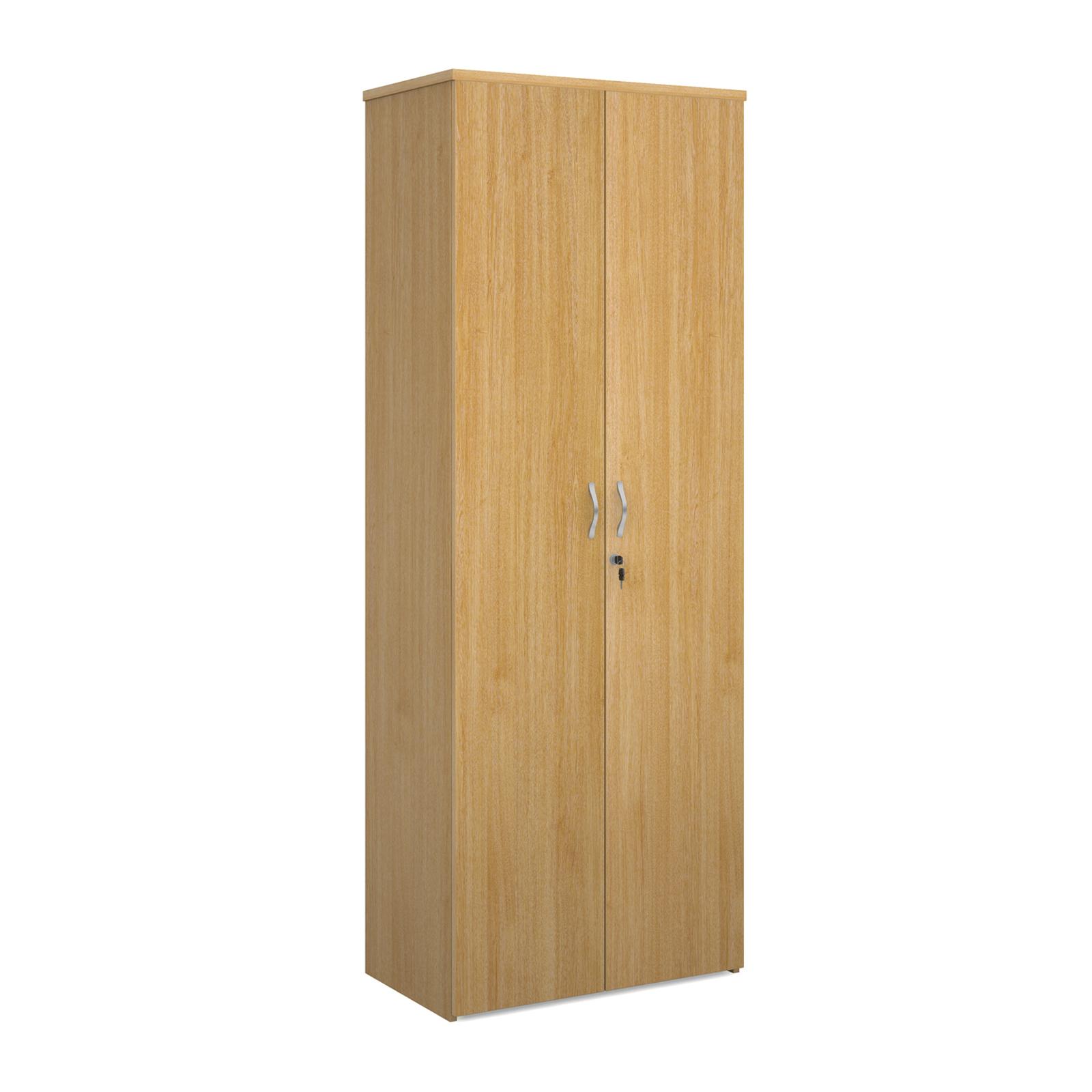 Over 1200mm High Universal double door cupboard 2140mm high with 5 shelves - oak