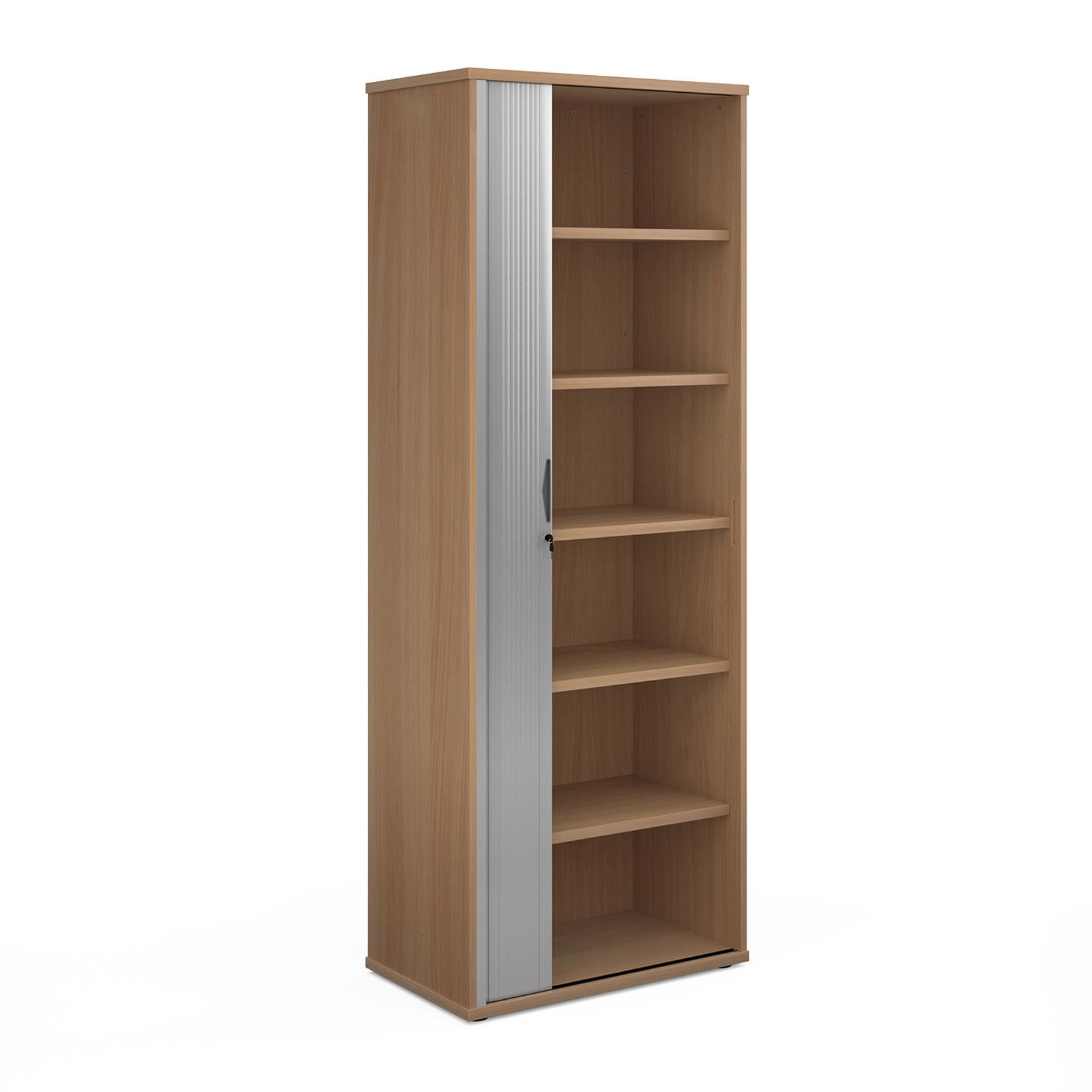Universal single door tambour cupboard 2140mm high with 5 shelves - beech with silver door
