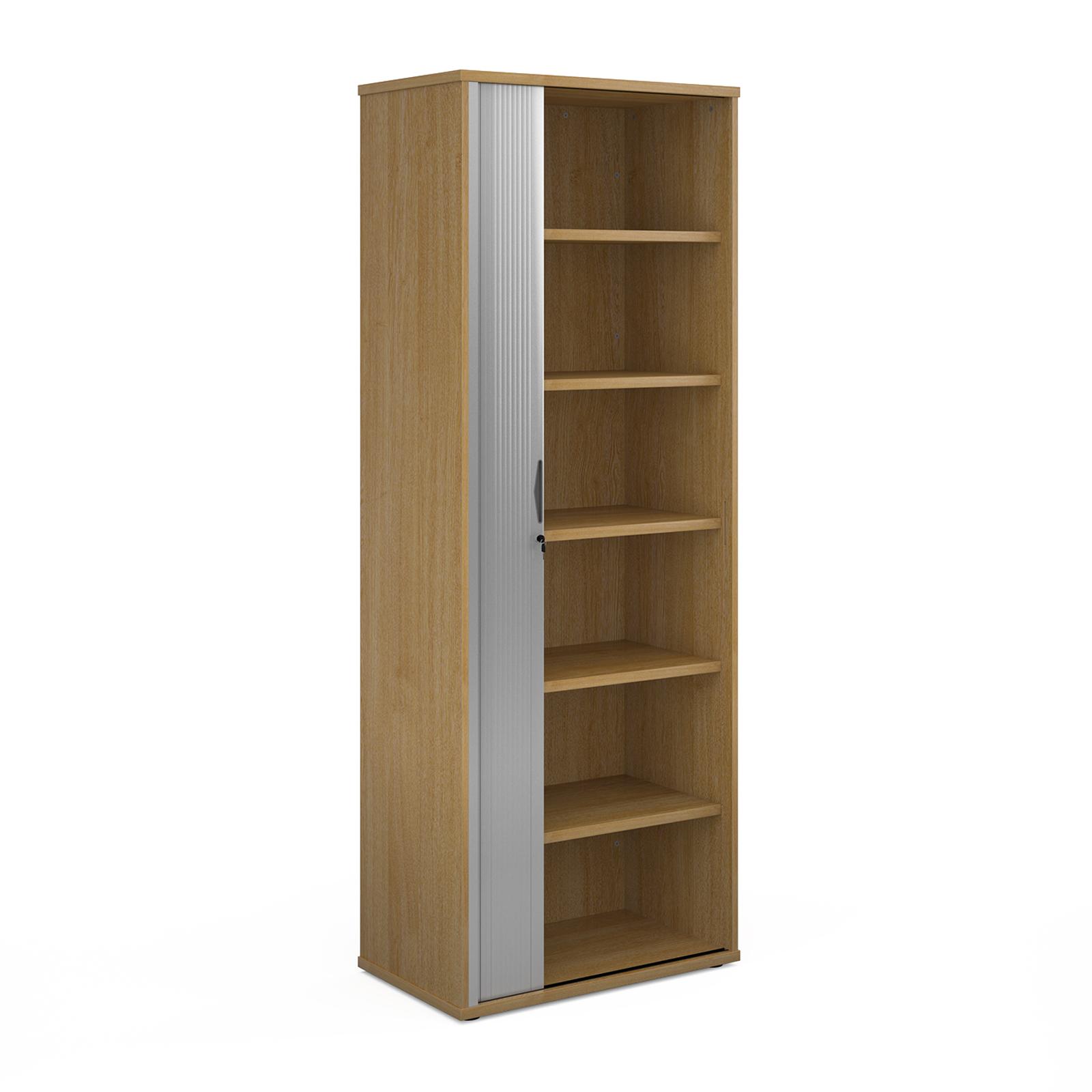 Universal single door tambour cupboard 2140mm high with 5 shelves - oak with silver door