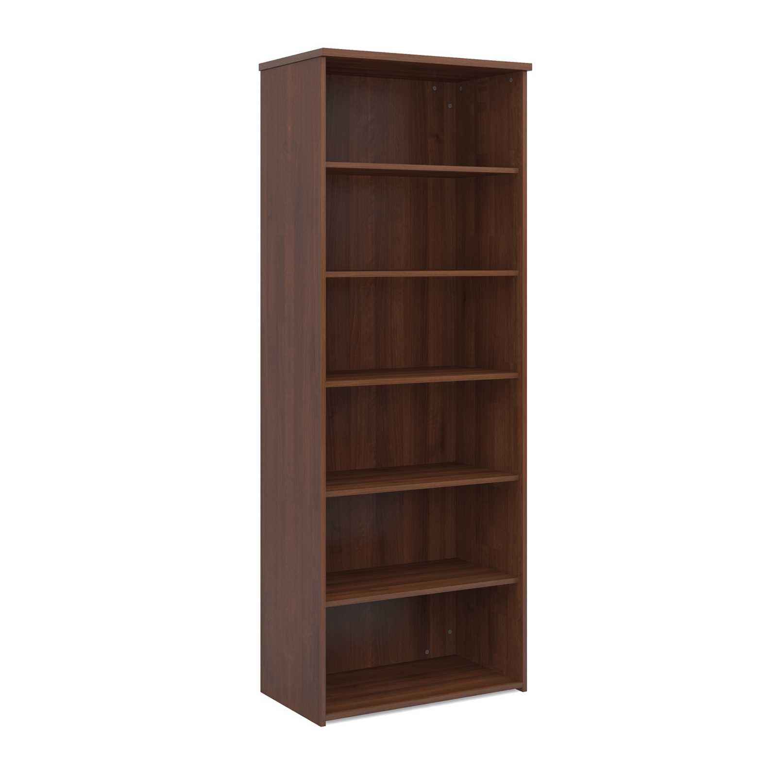 Over 1200mm High Universal bookcase 2140mm high with 5 shelves - walnut