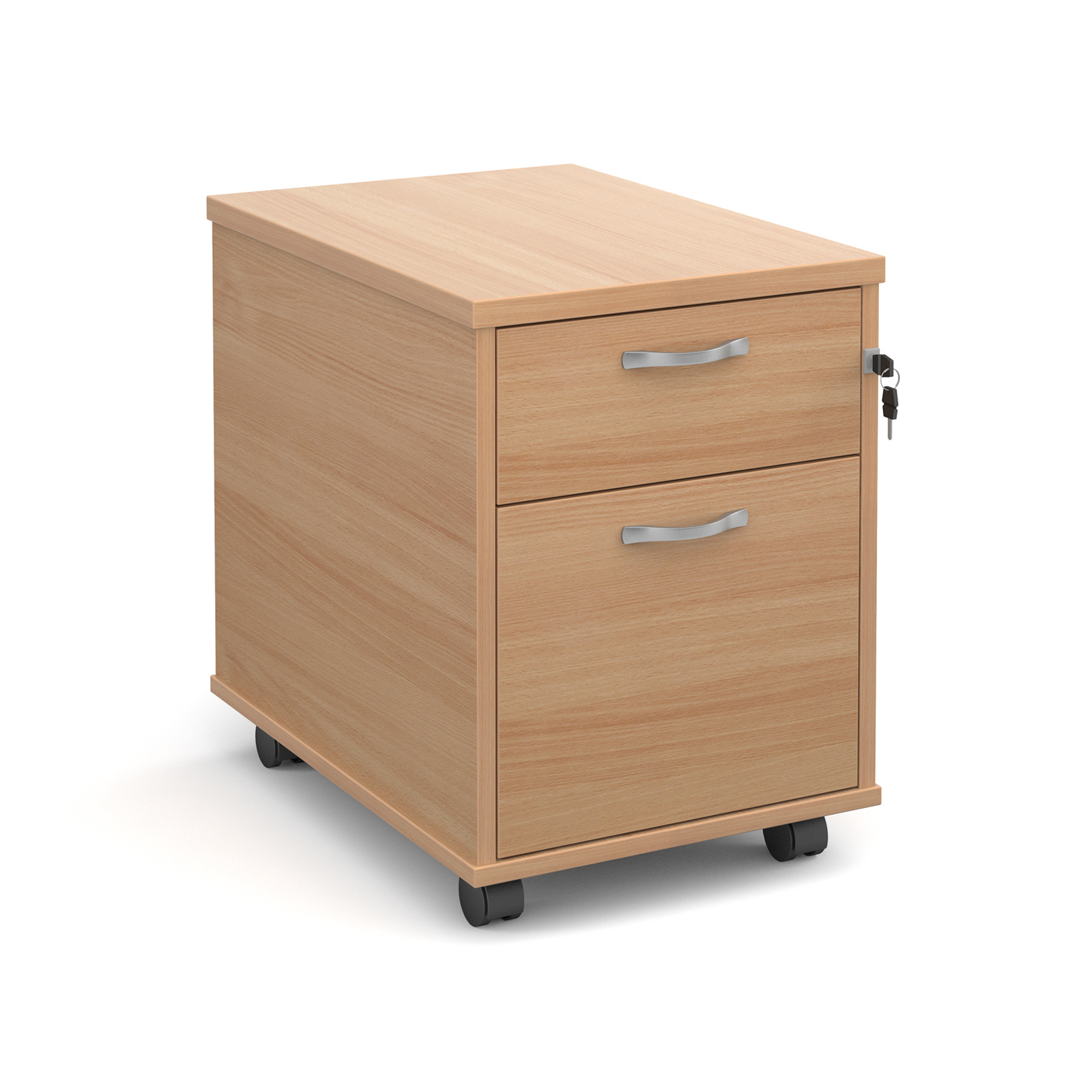 2 Drawer Mobile 2 drawer pedestal with silver handles 600mm deep - beech
