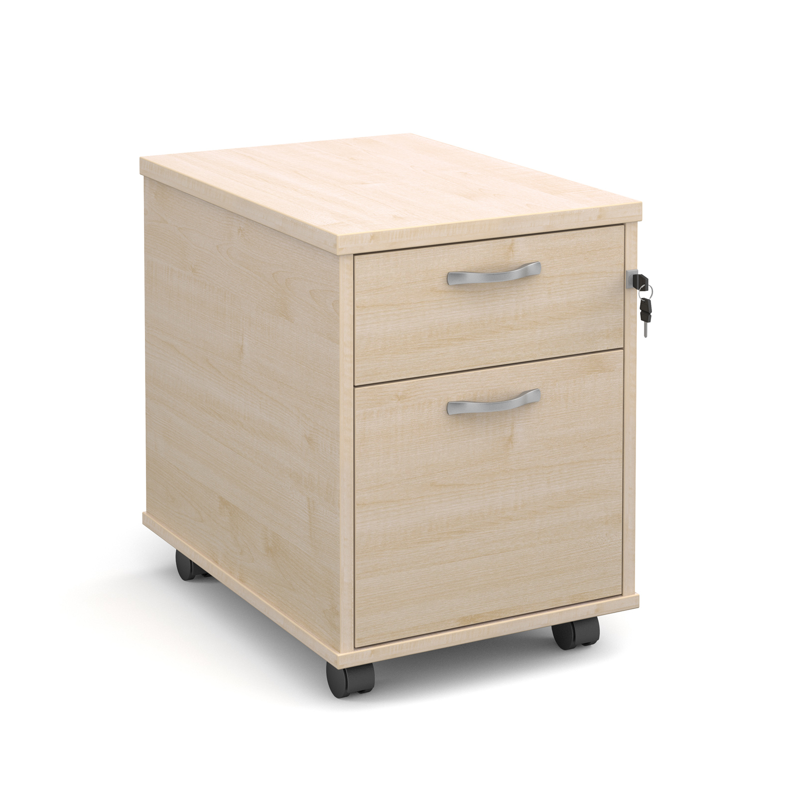 2 Drawer Mobile 2 drawer pedestal with silver handles 600mm deep - maple
