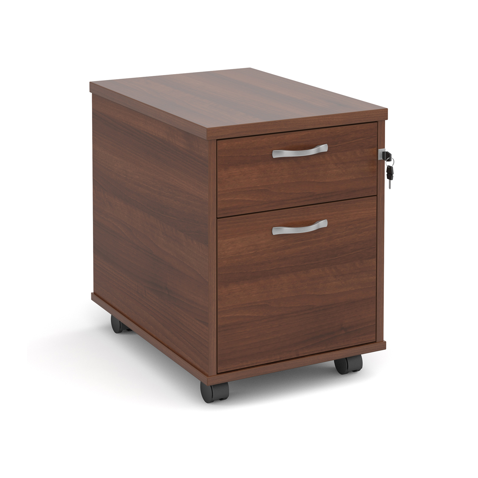 2 Drawer Mobile 2 drawer pedestal with silver handles 600mm deep - walnut