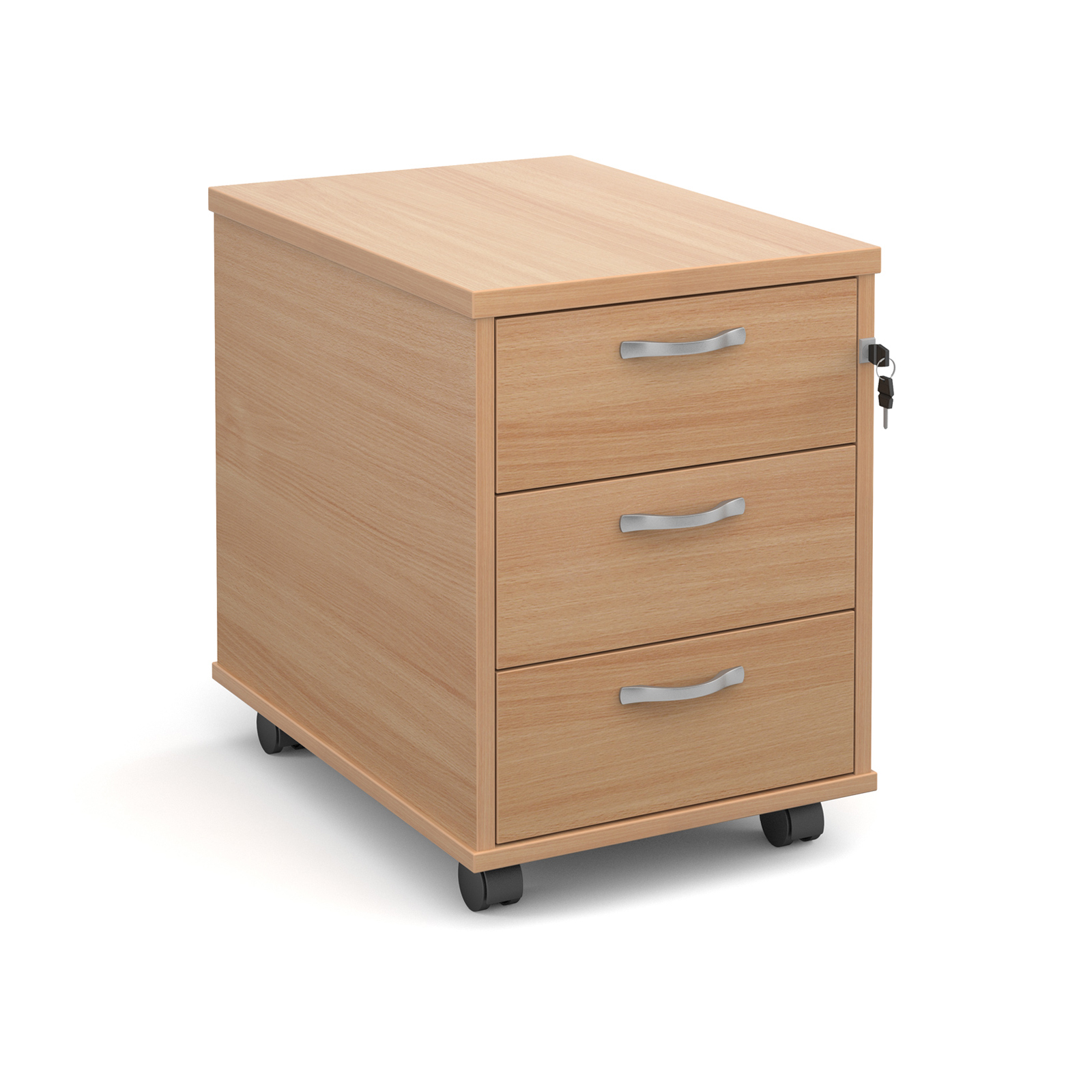 Mobile 3 drawer pedestal with silver handles 600mm deep - beech