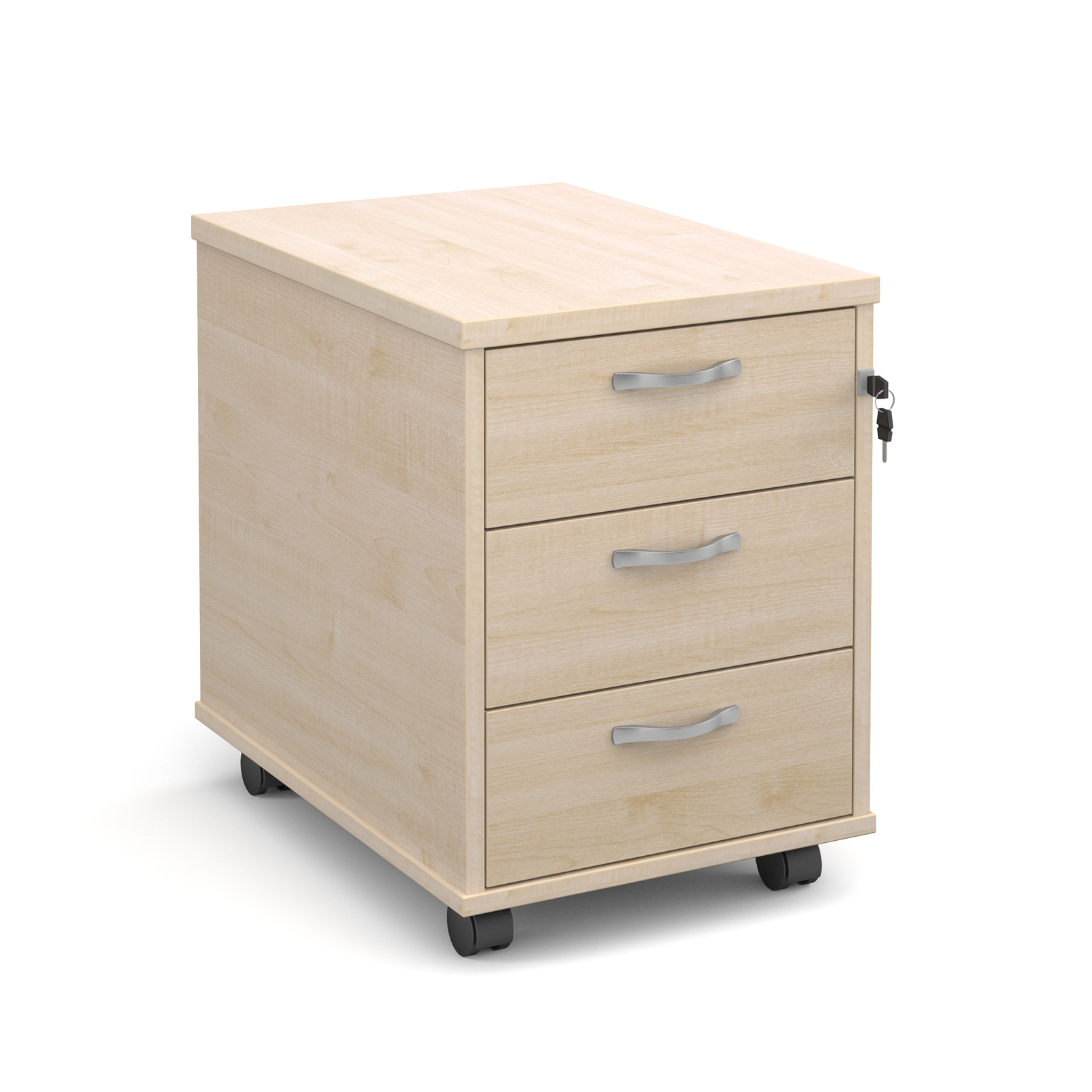 3 Drawer Mobile 3 drawer pedestal with silver handles 600mm deep - maple