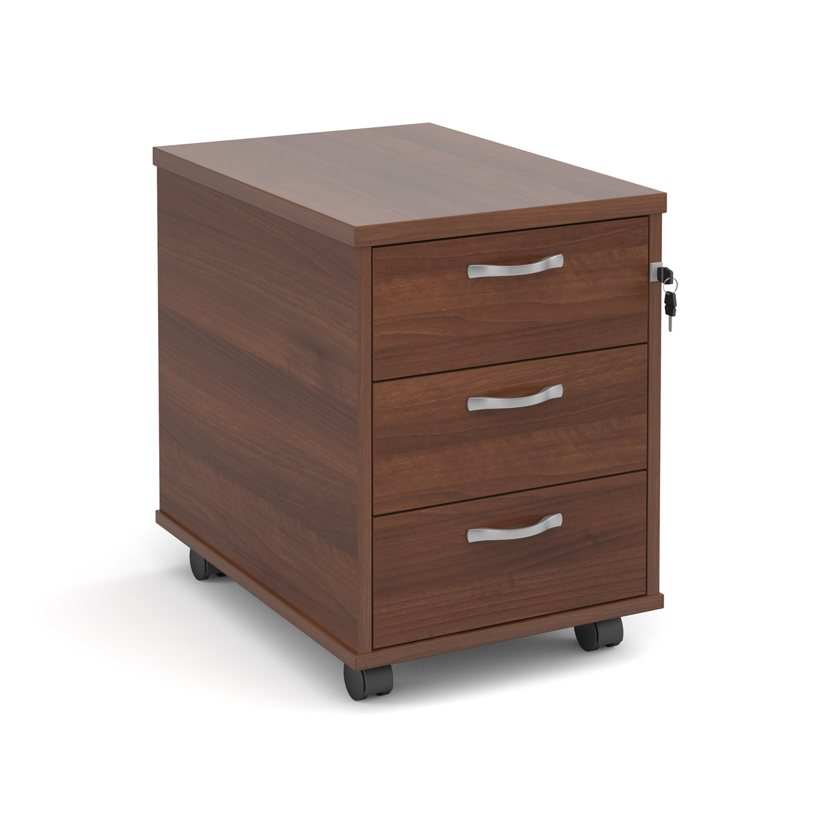 Mobile 3 drawer pedestal with silver handles 600mm deep - walnut
