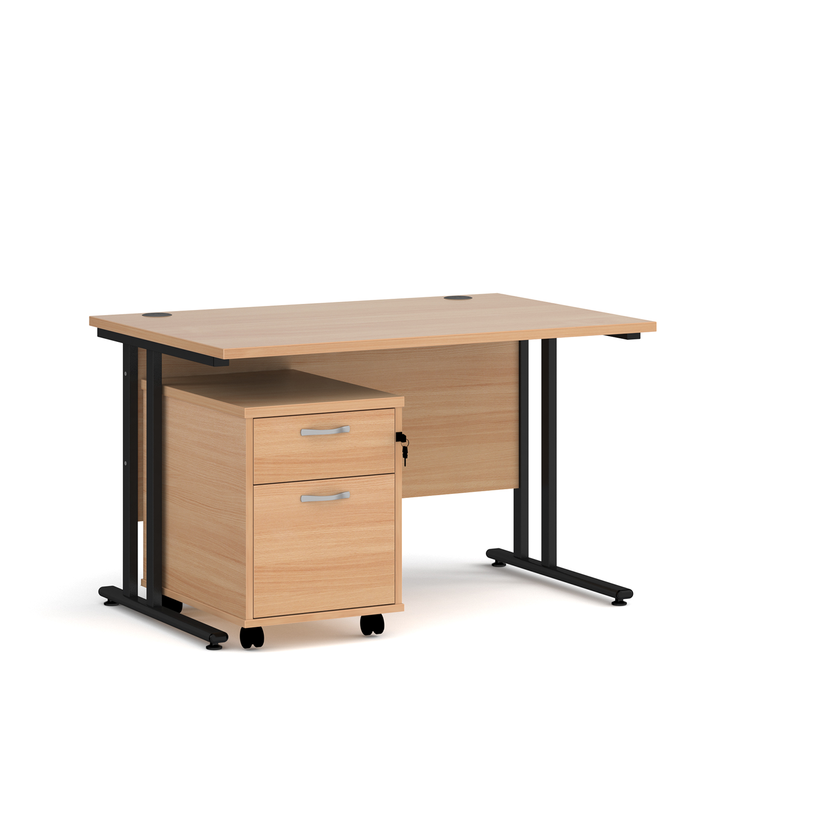 Rectangular Desks Maestro 25 straight desk 1200mm x 800mm with black cantilever frame and 2 drawer pedestal - beech