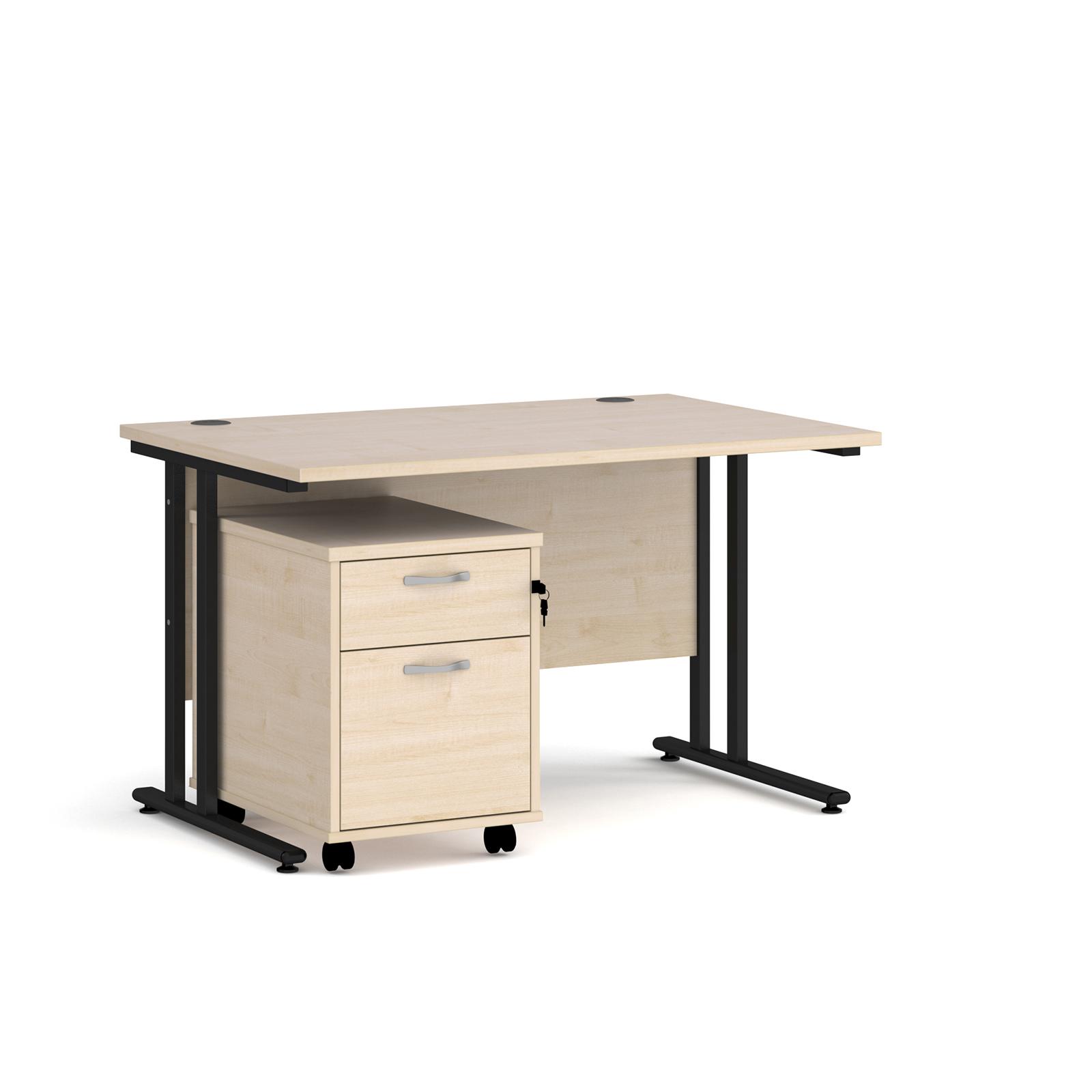 Rectangular Desks Maestro 25 straight desk 1200mm x 800mm with black cantilever frame and 2 drawer pedestal - maple