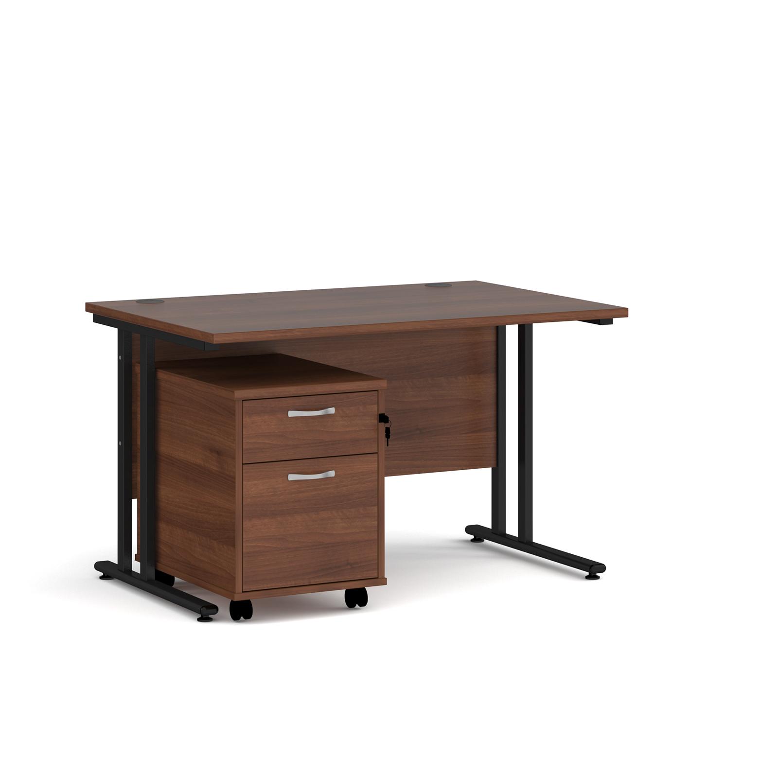 Rectangular Desks Maestro 25 straight desk 1200mm x 800mm with black cantilever frame and 2 drawer pedestal - walnut