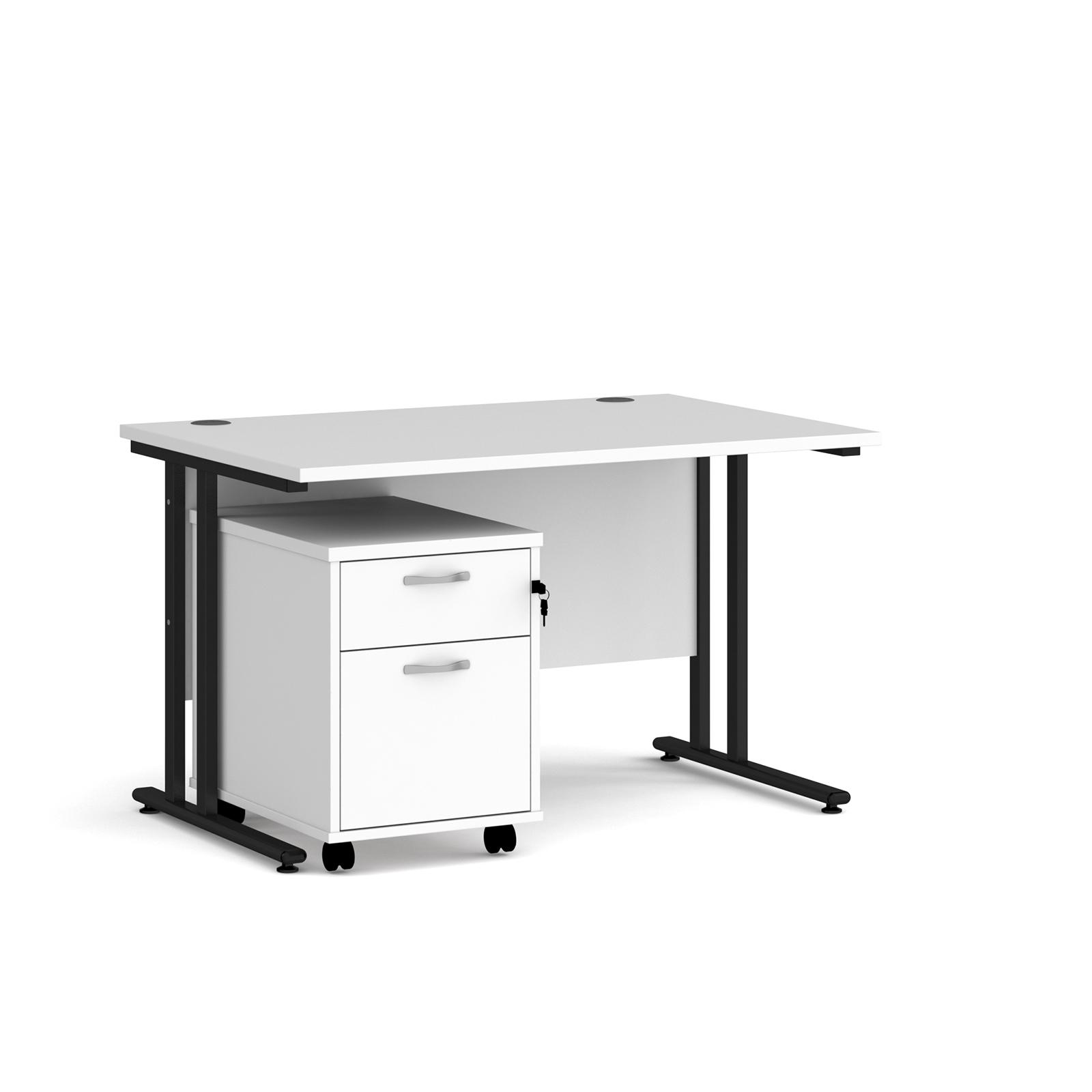 Rectangular Desks Maestro 25 straight desk 1200mm x 800mm with black cantilever frame and 2 drawer pedestal - white