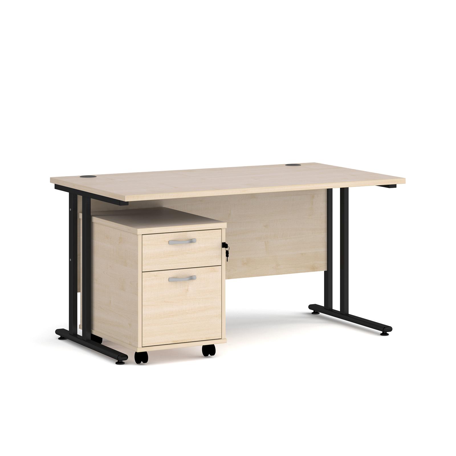 Rectangular Desks Maestro 25 straight desk 1400mm x 800mm with black cantilever frame and 2 drawer pedestal - maple