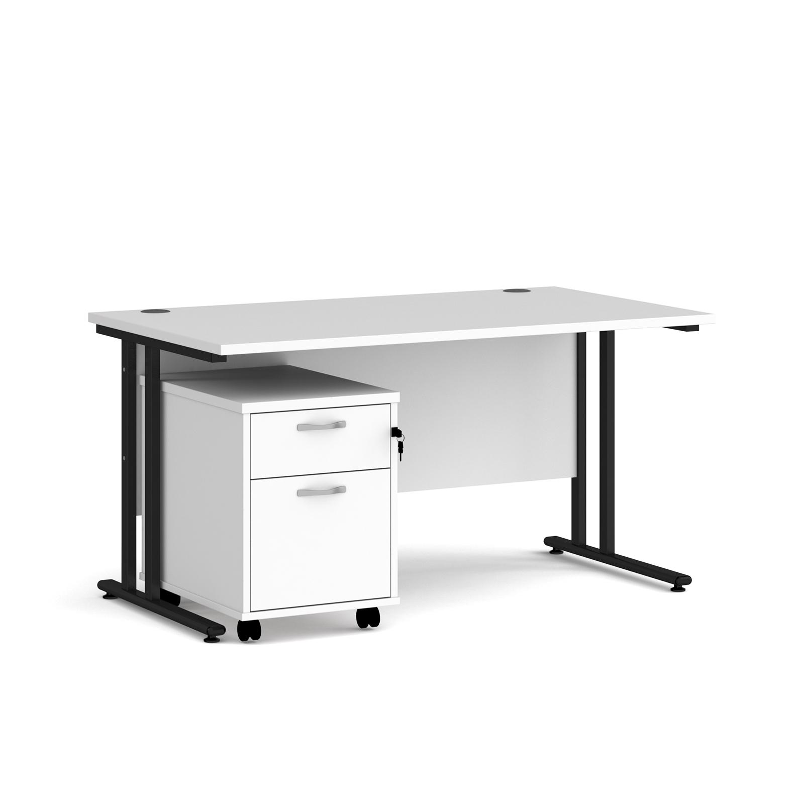 Rectangular Desks Maestro 25 straight desk 1400mm x 800mm with black cantilever frame and 2 drawer pedestal - white