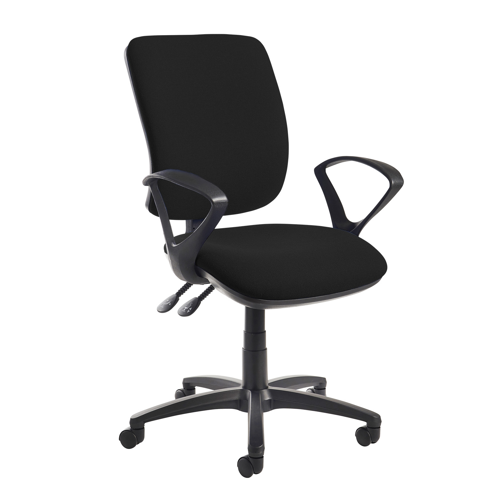 Desk Chairs Senza high back operator chair with fixed arms - black