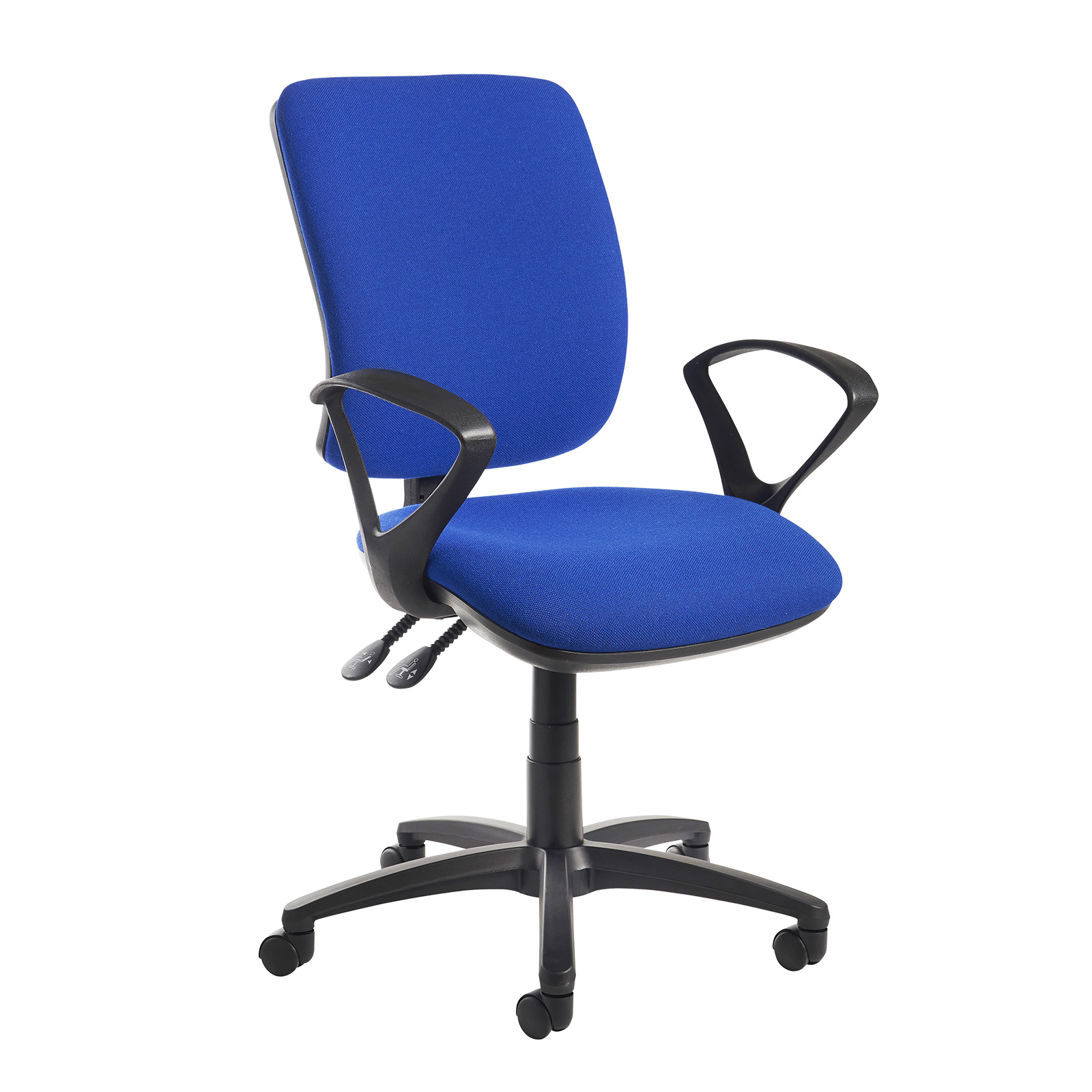 Desk Chairs Senza high back operator chair with fixed arms - blue