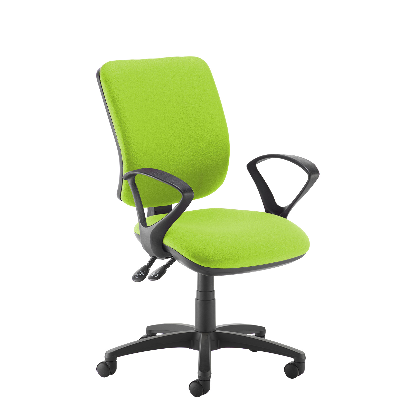 Desk Chairs Senza high back operator chair with fixed arms - green